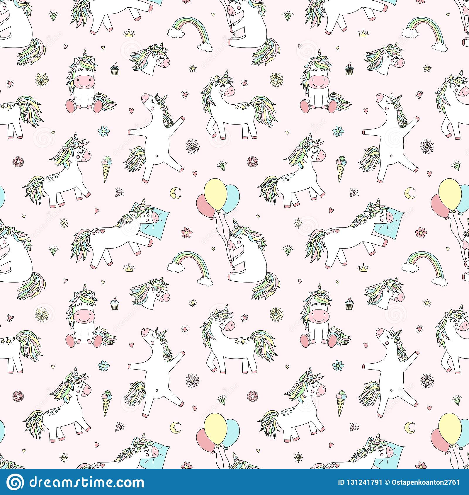Seamless pattern of hand-drawn cartoon magical unicorns with diamonds, hearts, balloons, flowers, stars, crowns. Vector image for