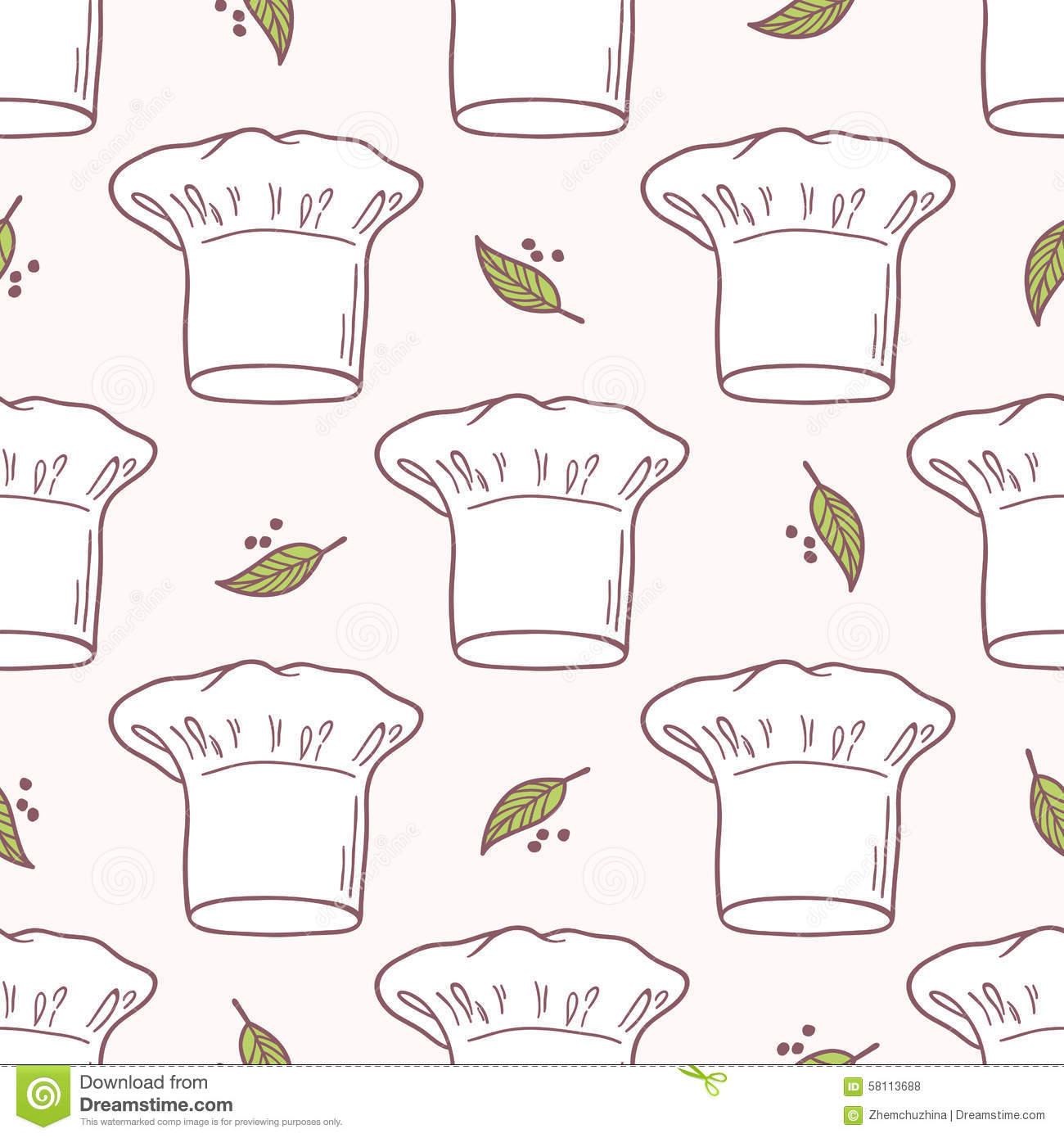 7973ba2cbfd Seamless pattern with hand drawn chef hat. Kitchen background. Vector  illustration