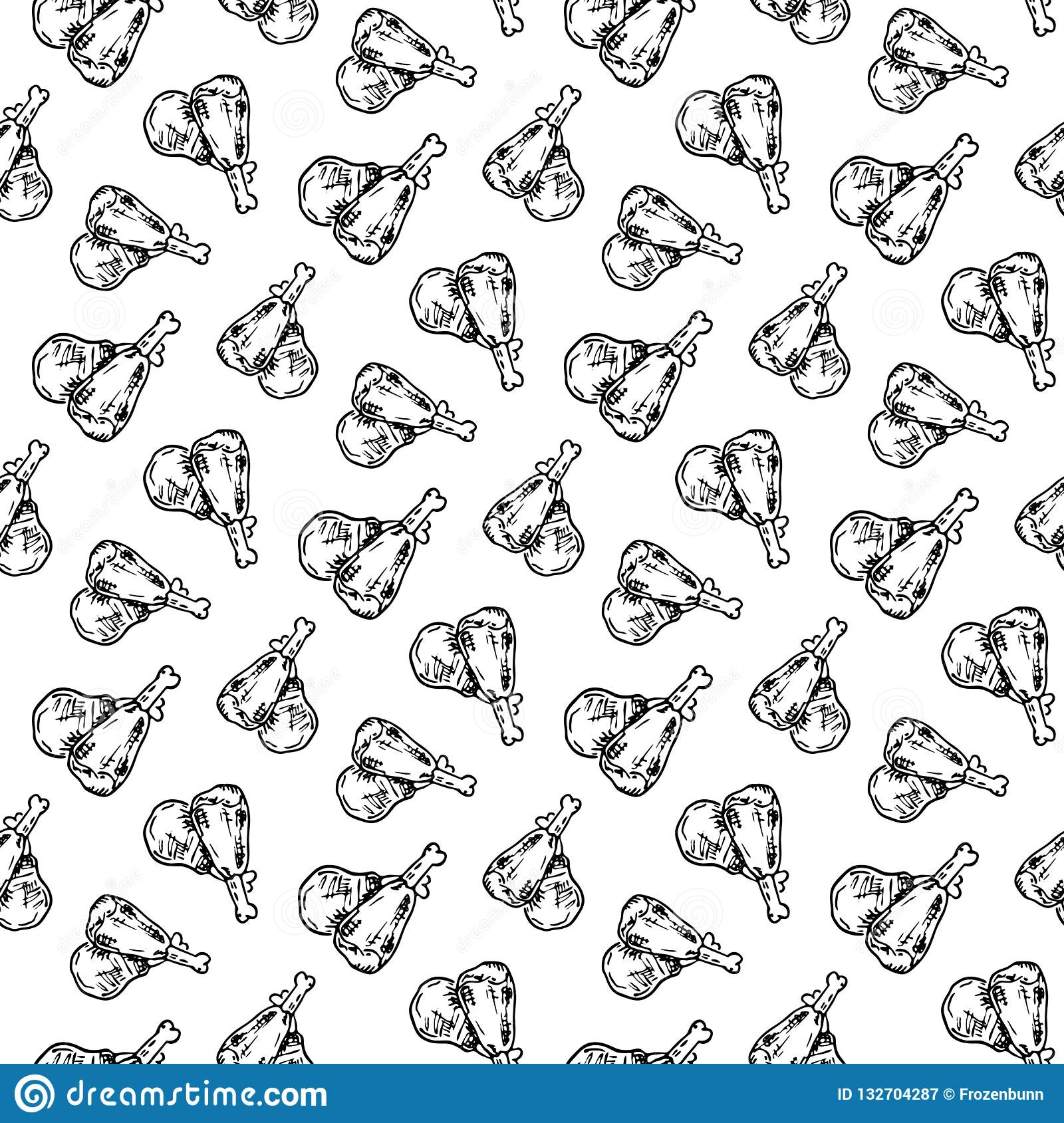 8bd43f6eb80 Seamless pattern hand drawn chicken legs. Doodle black sketch. Sign symbol.  Decoration element. Isolated on white background. Flat design.