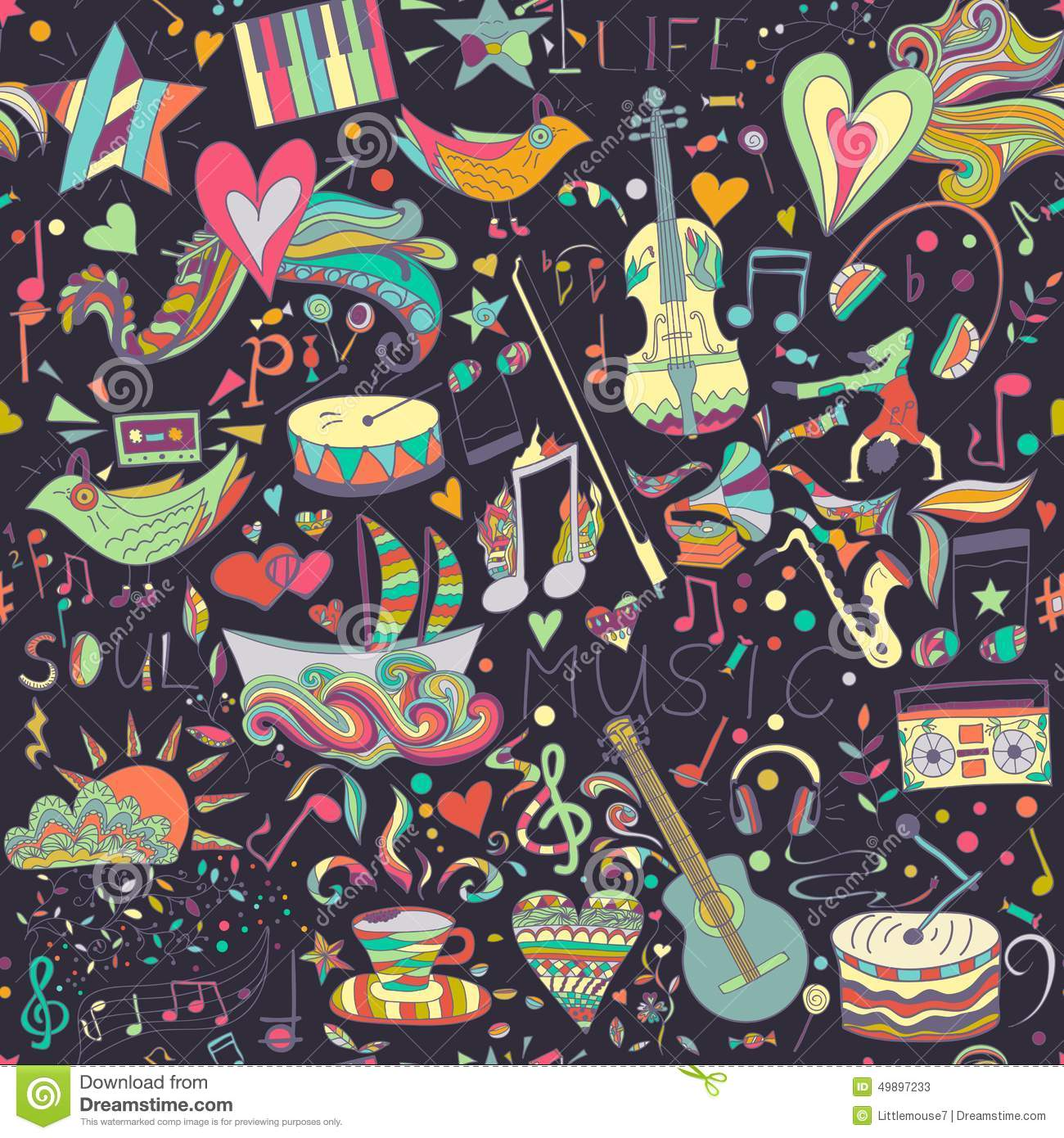 Simple Wallpaper Music Summer - seamless-pattern-hand-drawn-colorful-musical-vector-doodles-theme-music-joy-summer-template-can-be-used-49897233  Picture_93785.jpg