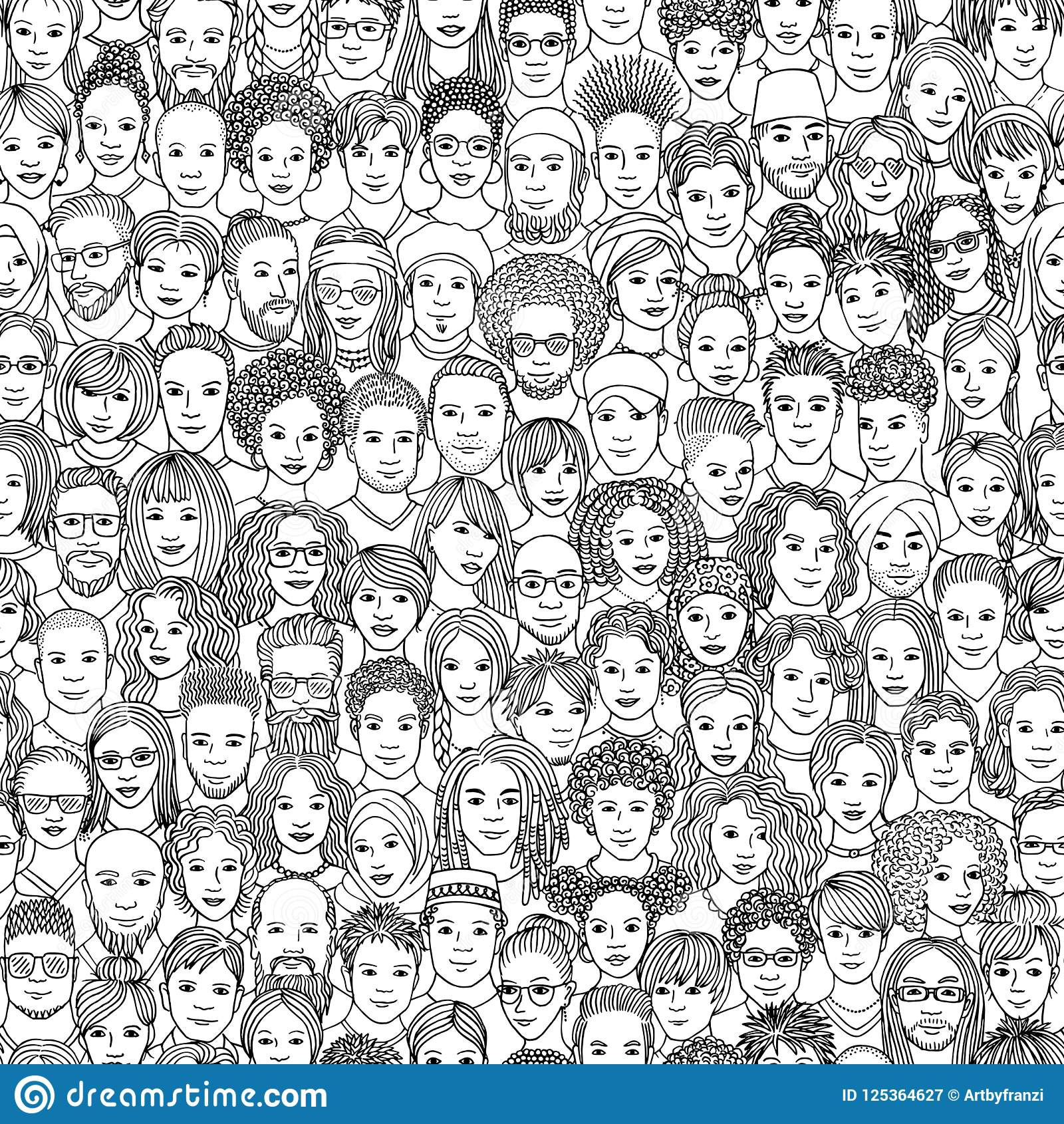 Diverse crowd of people seamless pattern of 100 hand drawn faces of various ethnicities black and white ink illustration
