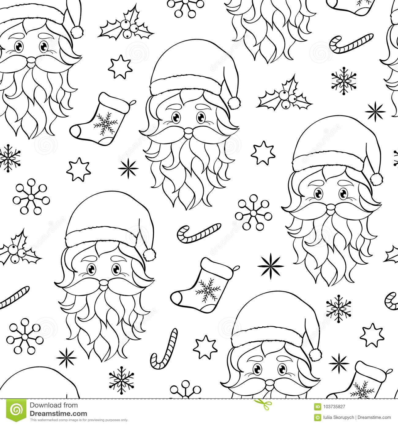 seamless pattern with hand drawn head of santa on white backgroundcoloring page for kids and adult