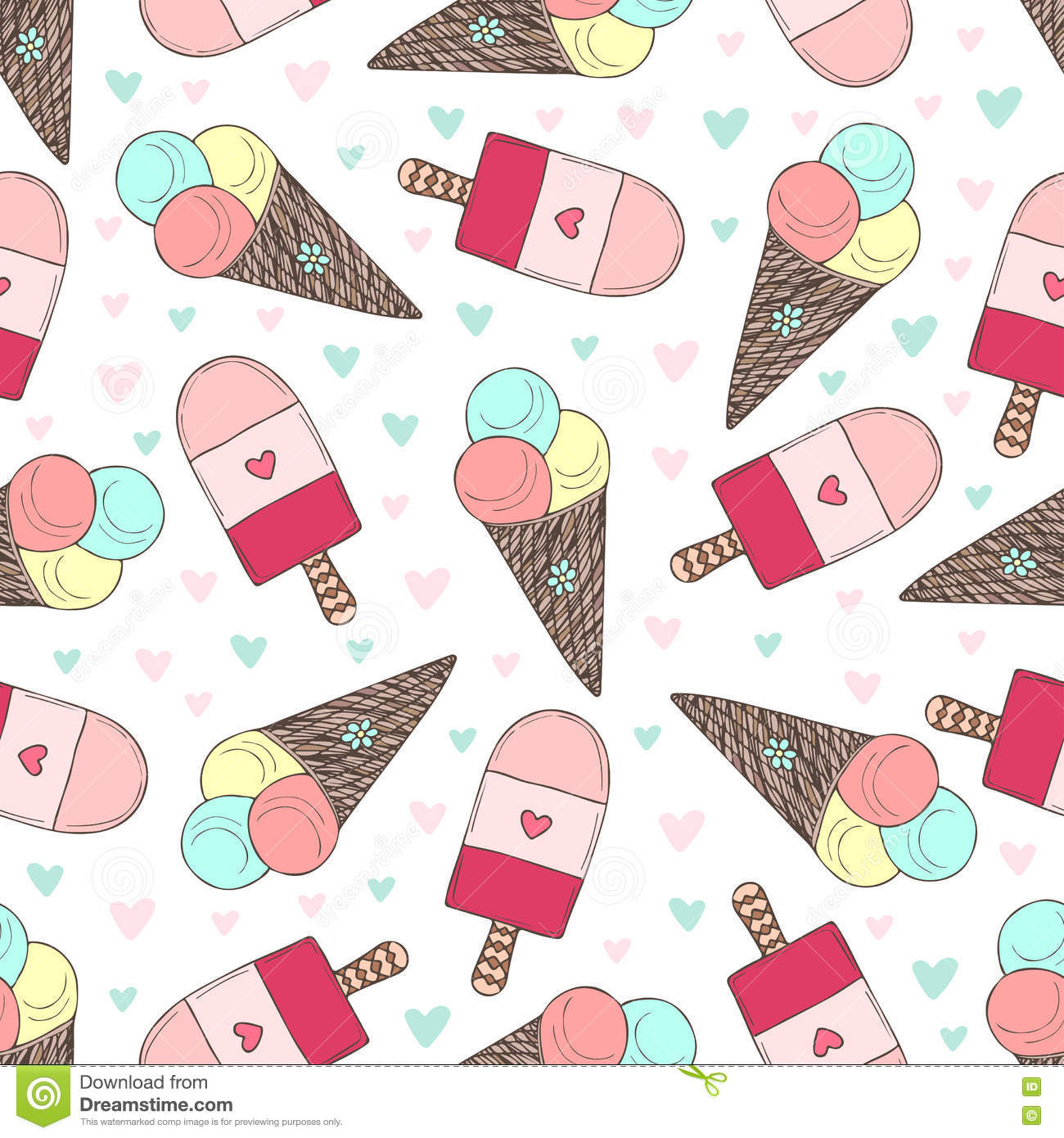 Pattern Cute Colorful Ice Cream Textiles Stock Vector: Seamless Pattern With Hand Drawn Ice Creams. Doodle Vector