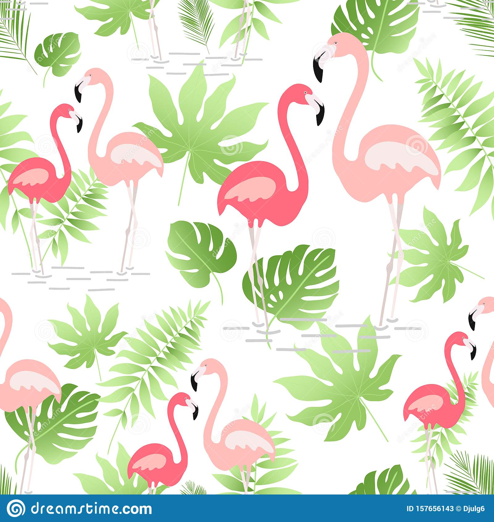 A seamless pattern with hand drawn a pink flamingo and tropical leaves - Vector