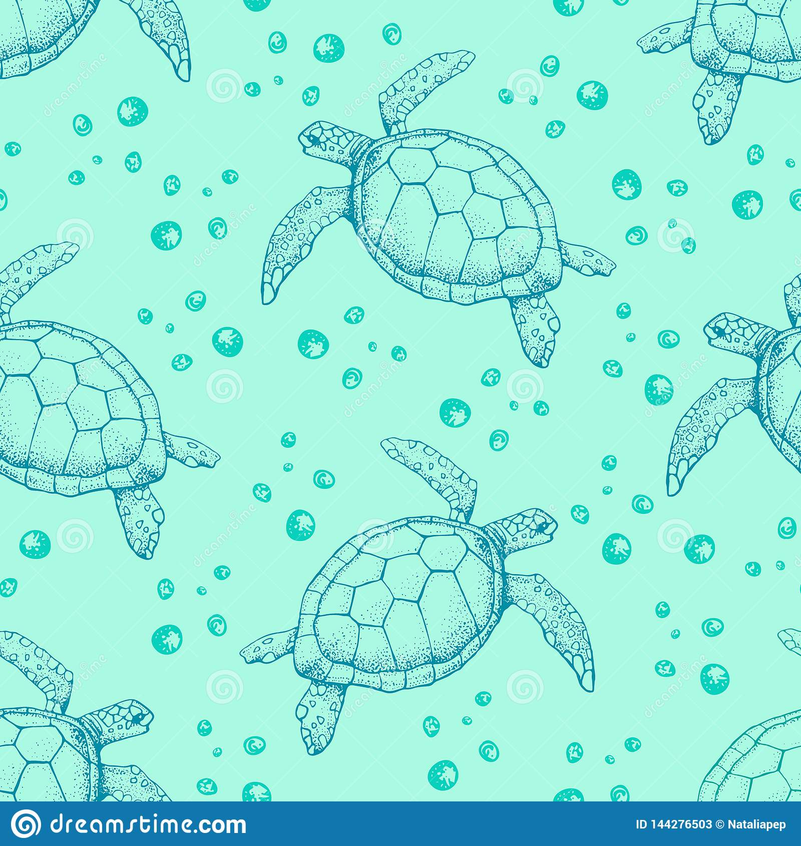 Seamless Pattern With Hand Drawn Sea Turtles Vector With Animal Underwater Illustration For Wallpaper Web Page Background Stock Vector Illustration Of Doodle Season 144276503