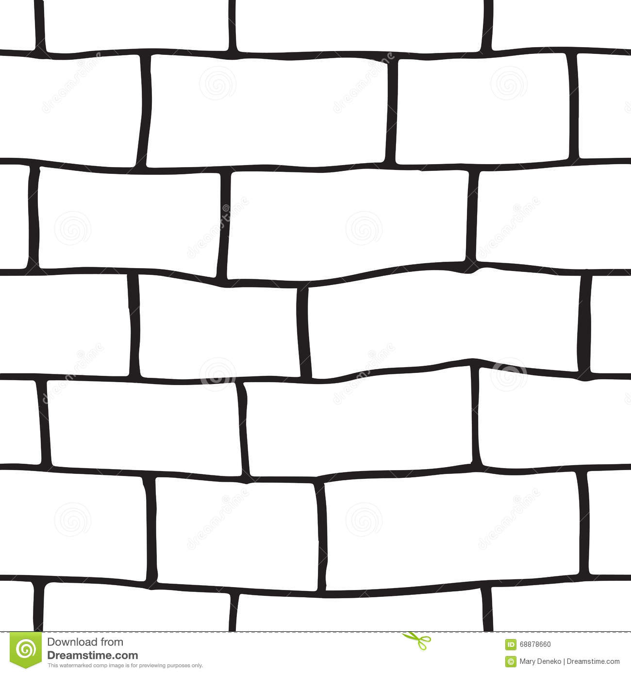 brick wall drawing black and white seamless pattern with sketch bricks stock 313