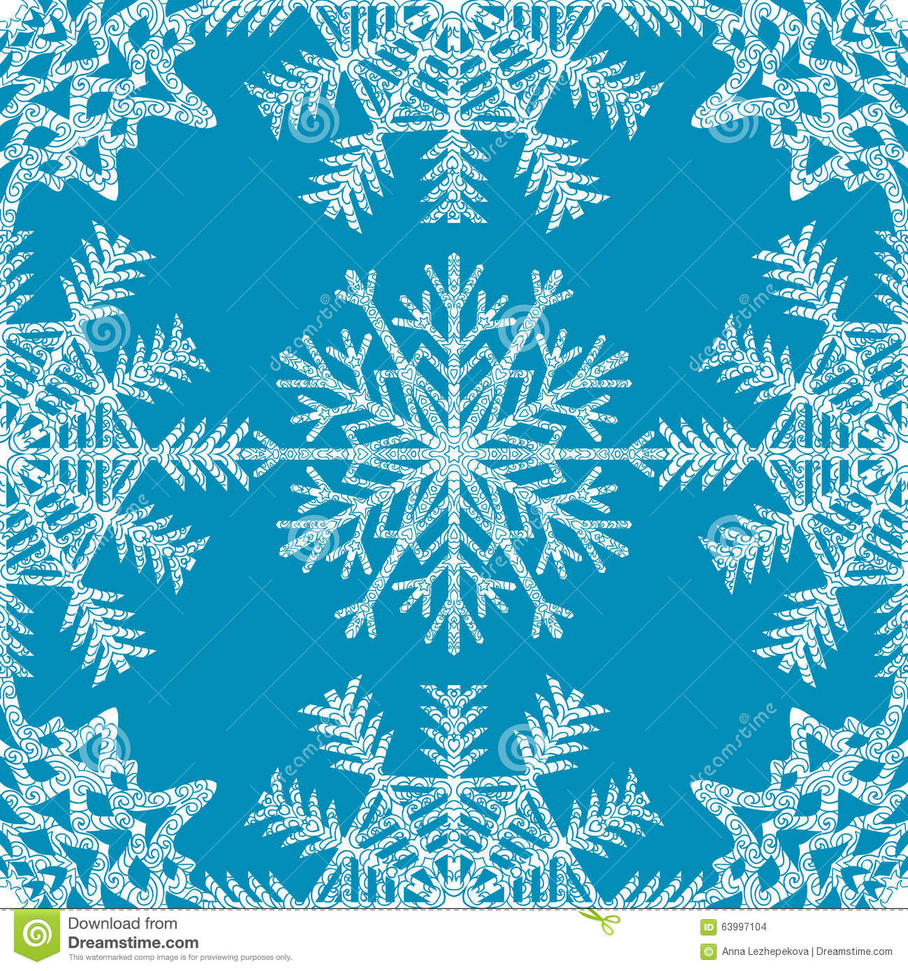 seamless pattern with hand drawn snowflake stock vector