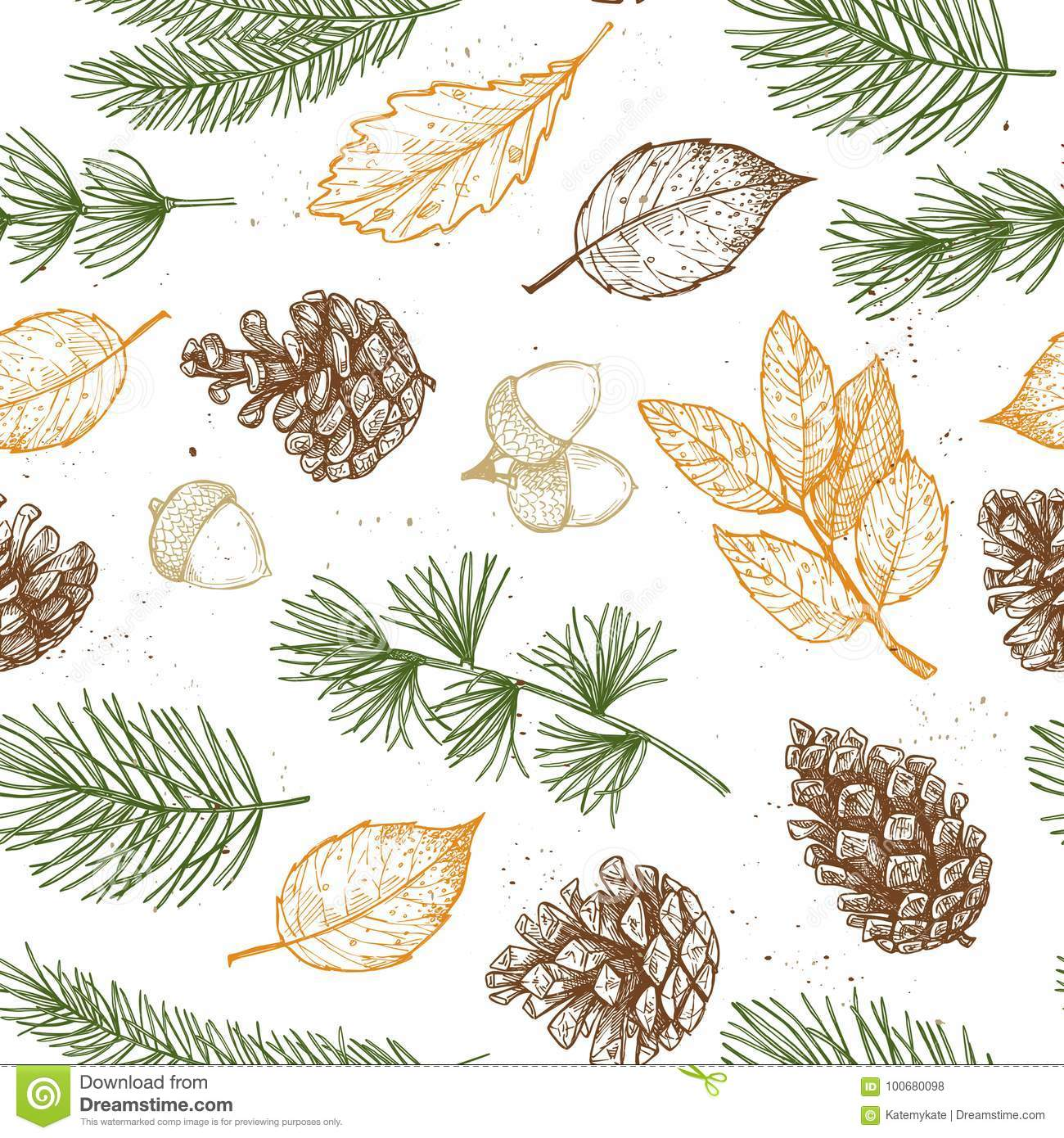 Seamless pattern. Hand drawn vector illustrations - Forest Autumn collection. Spruce branches, acorns, pine cones, fall leaves. D