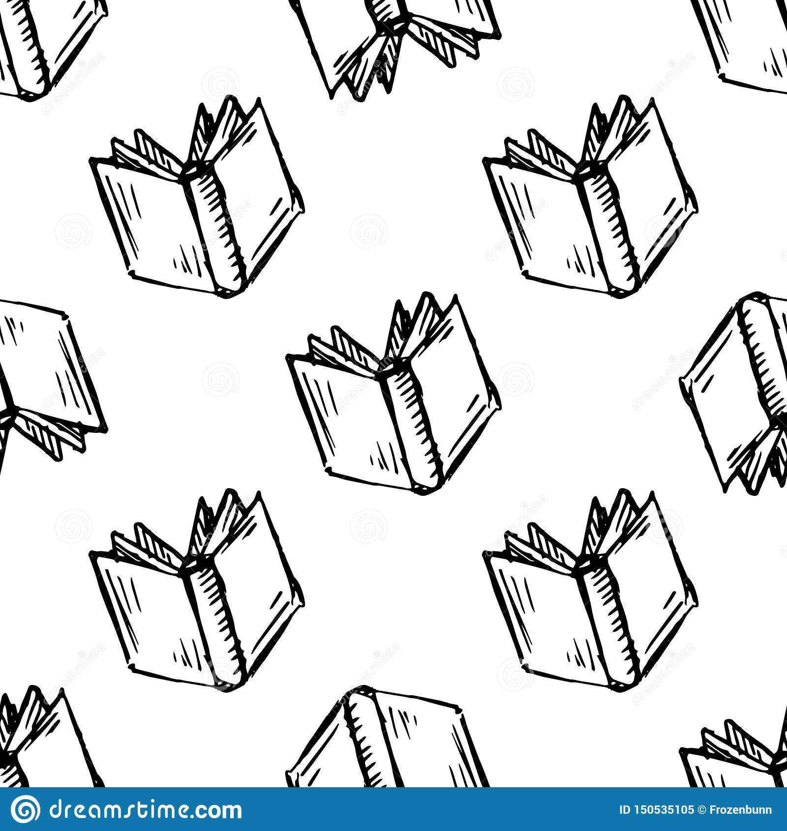 Seamless pattern Handdrawn book doodle icon. Hand drawn black sketch. Sign symbol. Decoration element. White background. Isolated