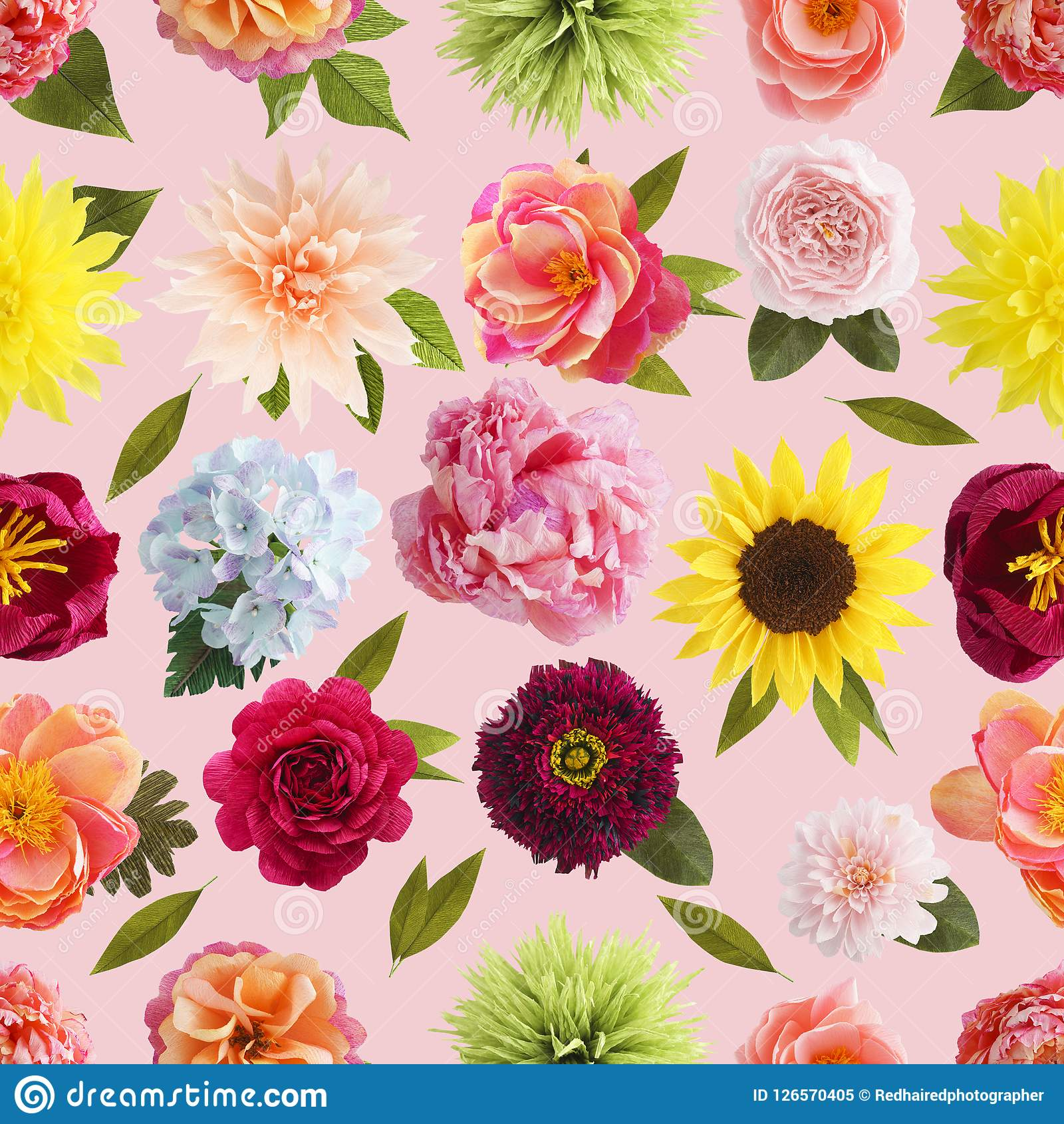 Crepe Paper Flower Seamless Pattern Pastel Colors Stock Image