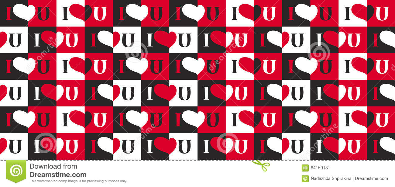 Seamless Pattern With Heart And Text I Love U Stock Vector