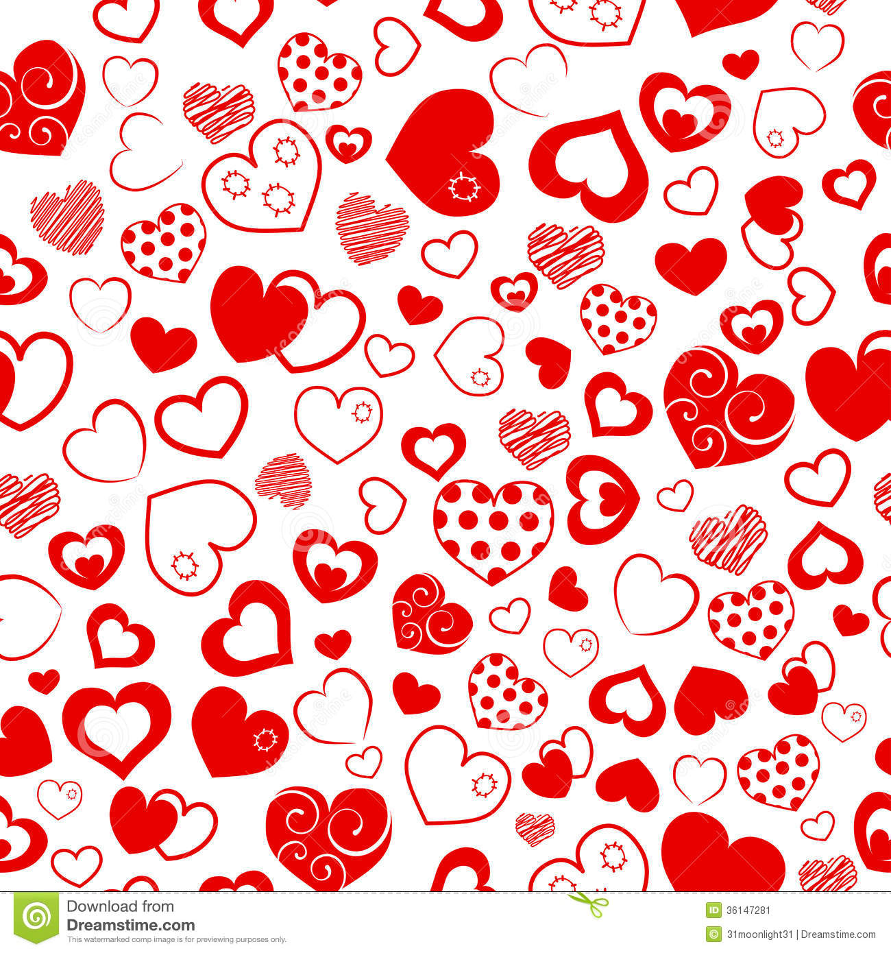 Seamless pattern of hearts stock vector image of love for Decoraciones para hojas