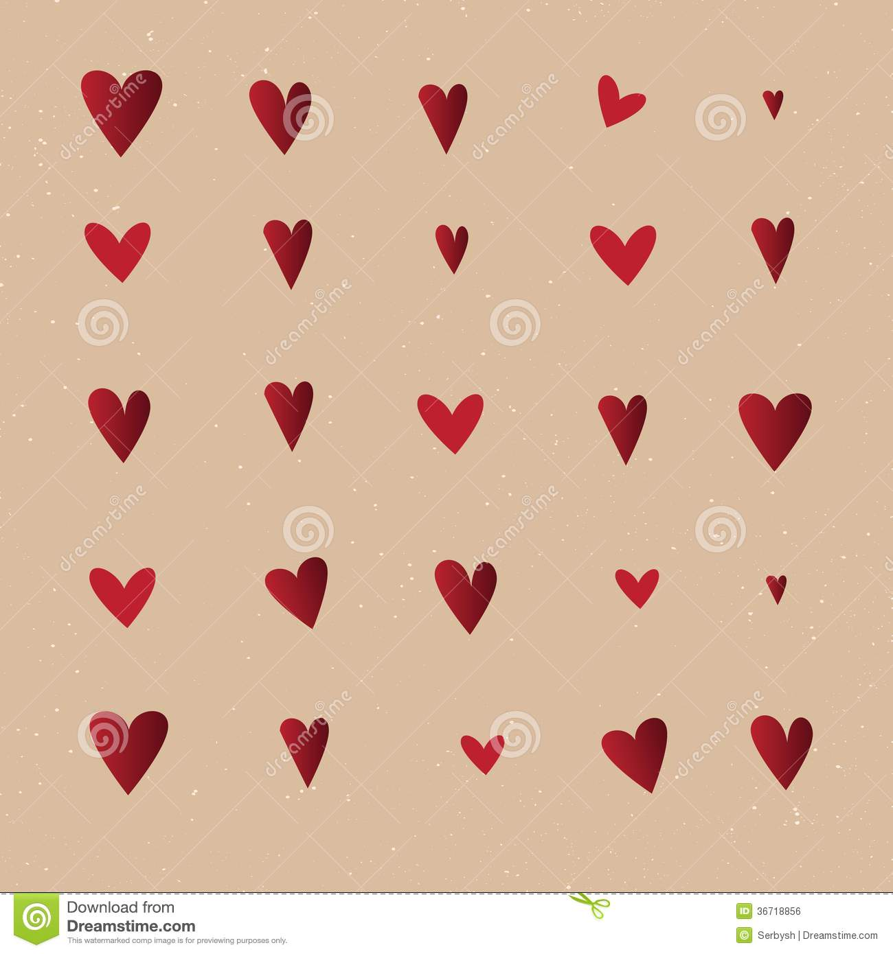 Vintage Heart Background Seamless Pattern With ...