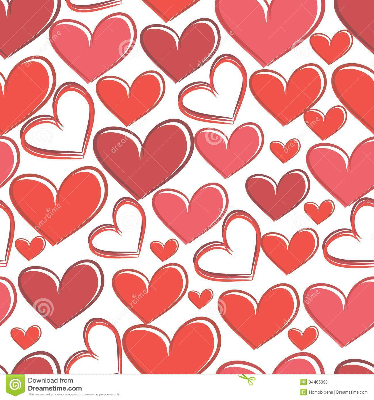 Seamless pattern with hearts on a white background