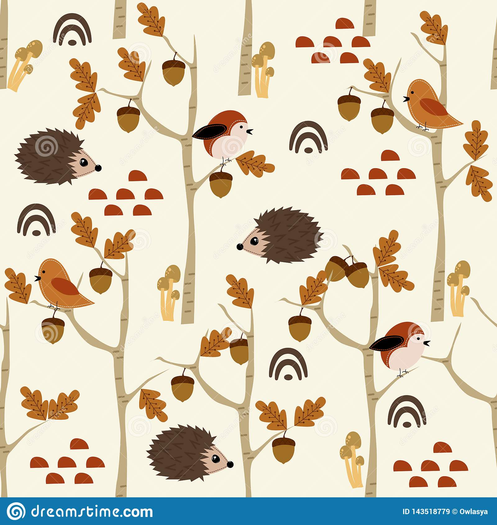 Seamless pattern with hedgehog and acorn in forest - vector illustration, eps
