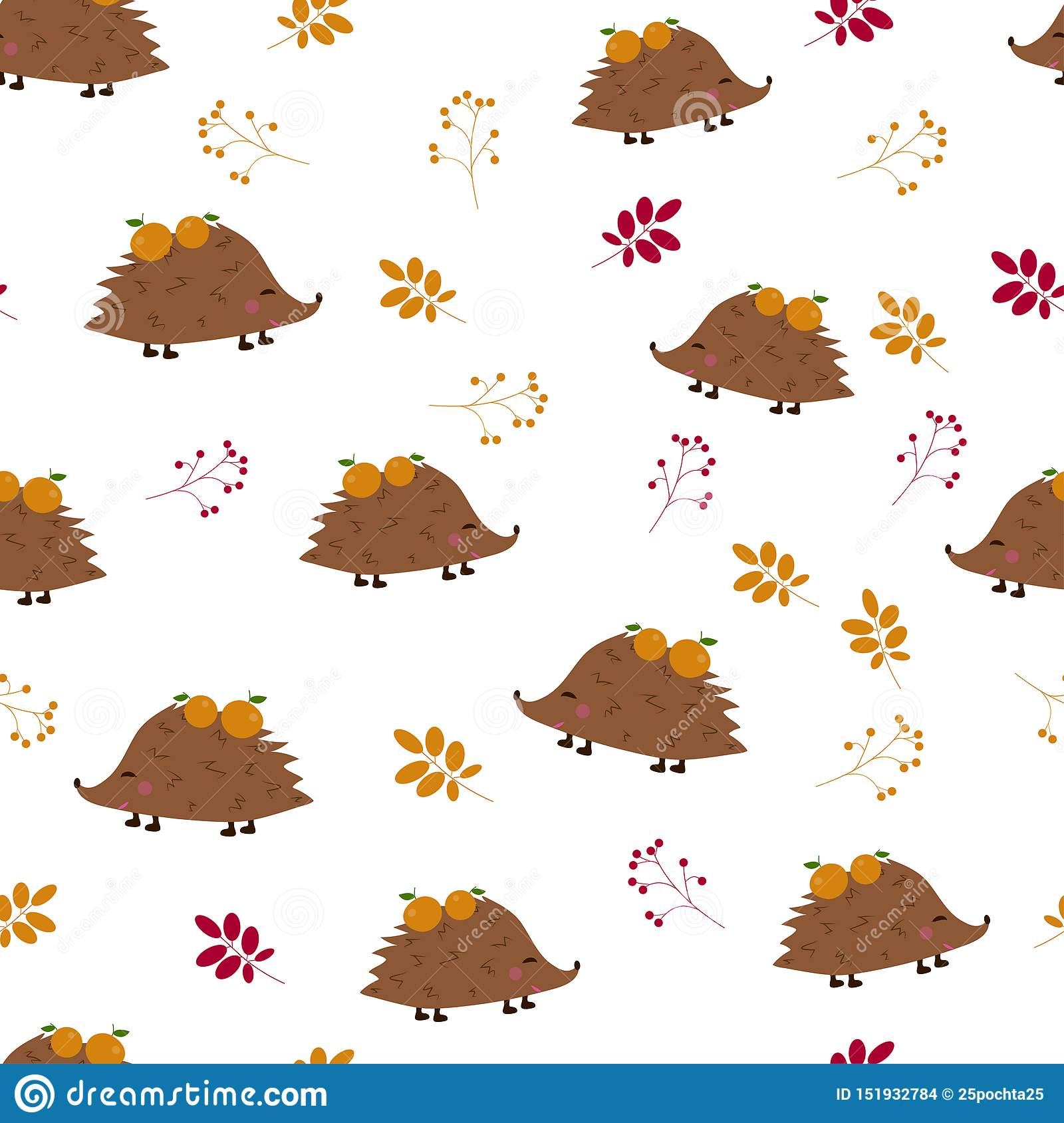 Seamless pattern: hedgehogs with apples and berries, leaves on a white background. Flat vector. Il