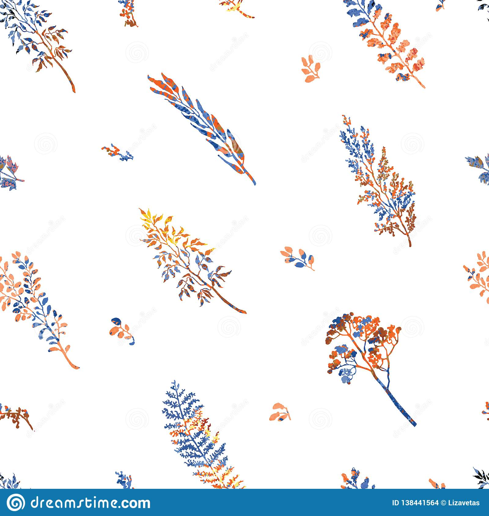 Seamless pattern with herbs, plants and flowers