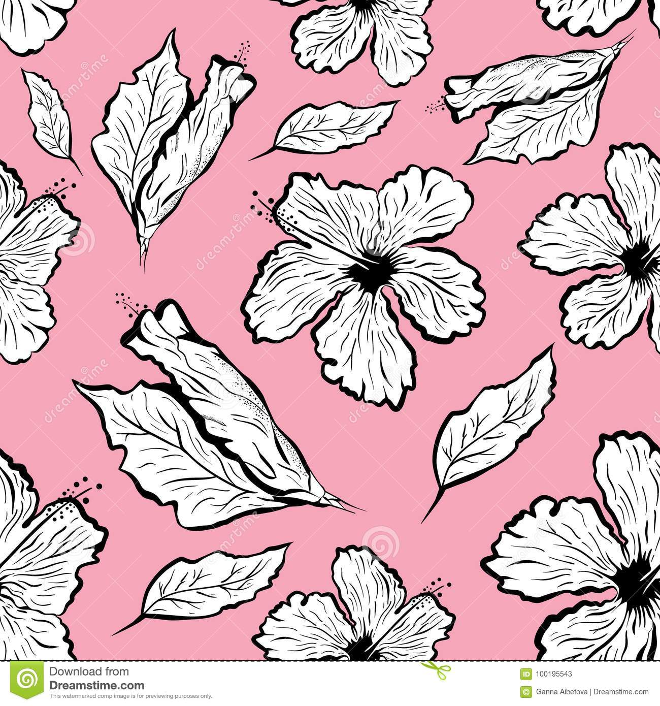 Seamless Pattern Of Hibiscus Flower In Tattoo Style Stock Vector