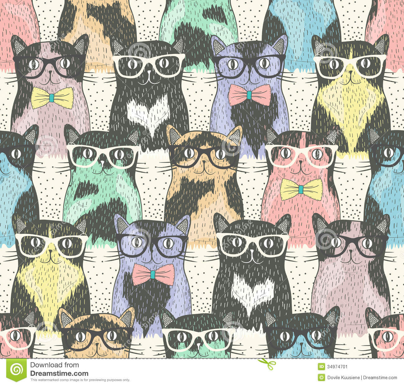 Seamless Pattern With Hipster Cute Cats Stock Vector ...
