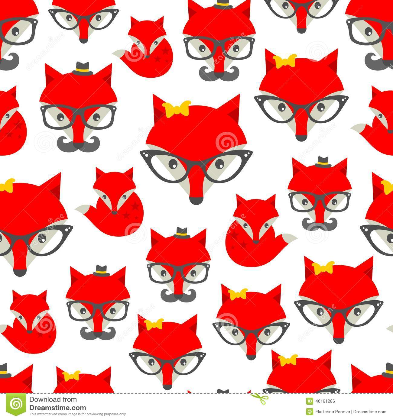 Seamless pattern with hipster fox. Vector background with cute animals ...