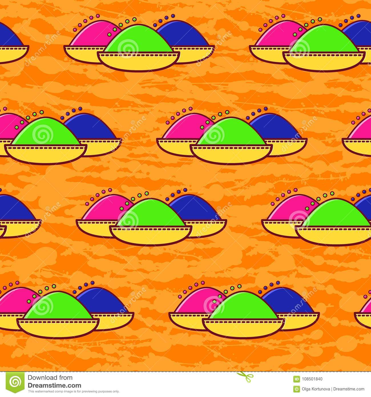 Seamless Pattern Holi Festival Of Spring And Bright Colors In India