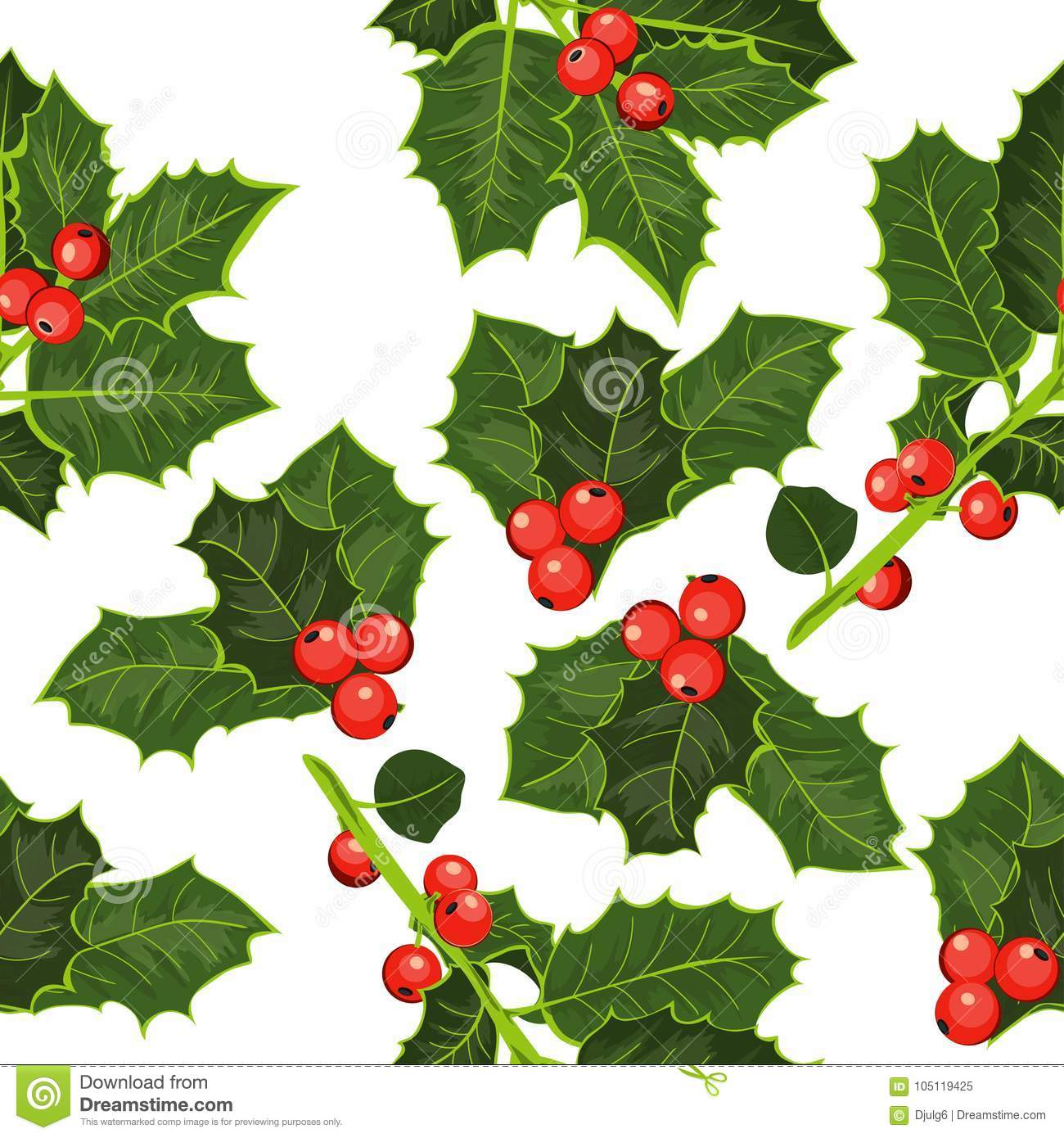 Christmas Holly Tree.Seamless Pattern With Holly Tree Happy Christmas Background