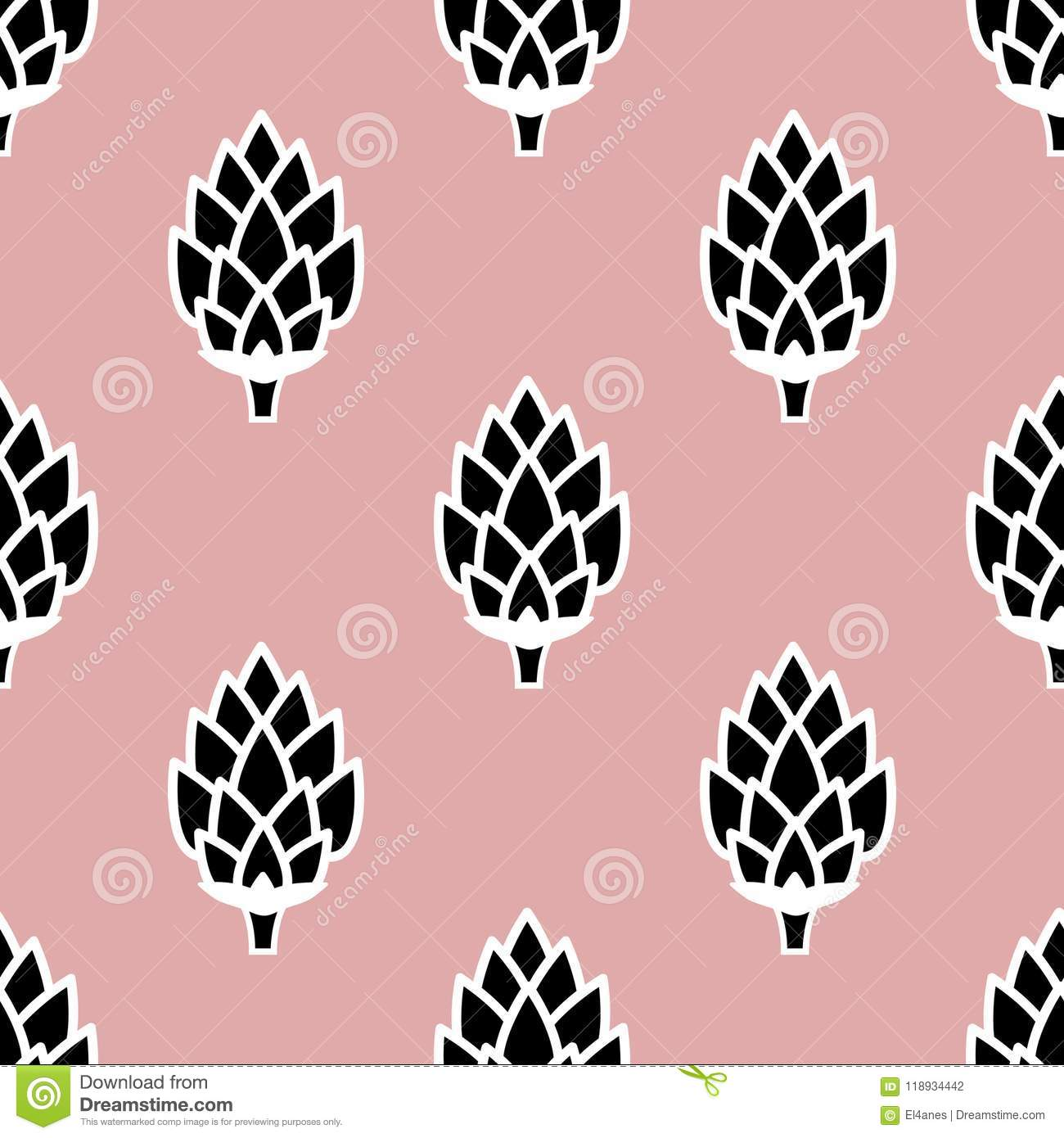 Wallpaper With Hops Stock Vector Illustration Of Cartoon 118934442