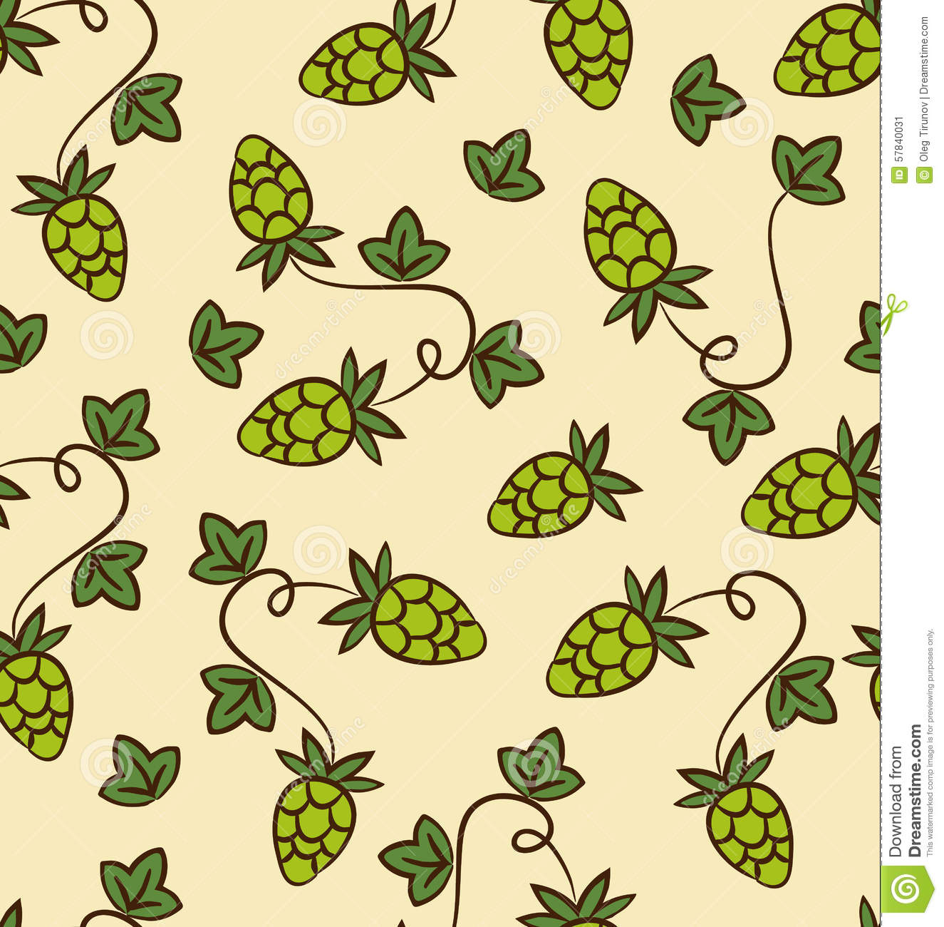 Seamless Pattern Hops Plans For Beer Stock Vector Illustration Of
