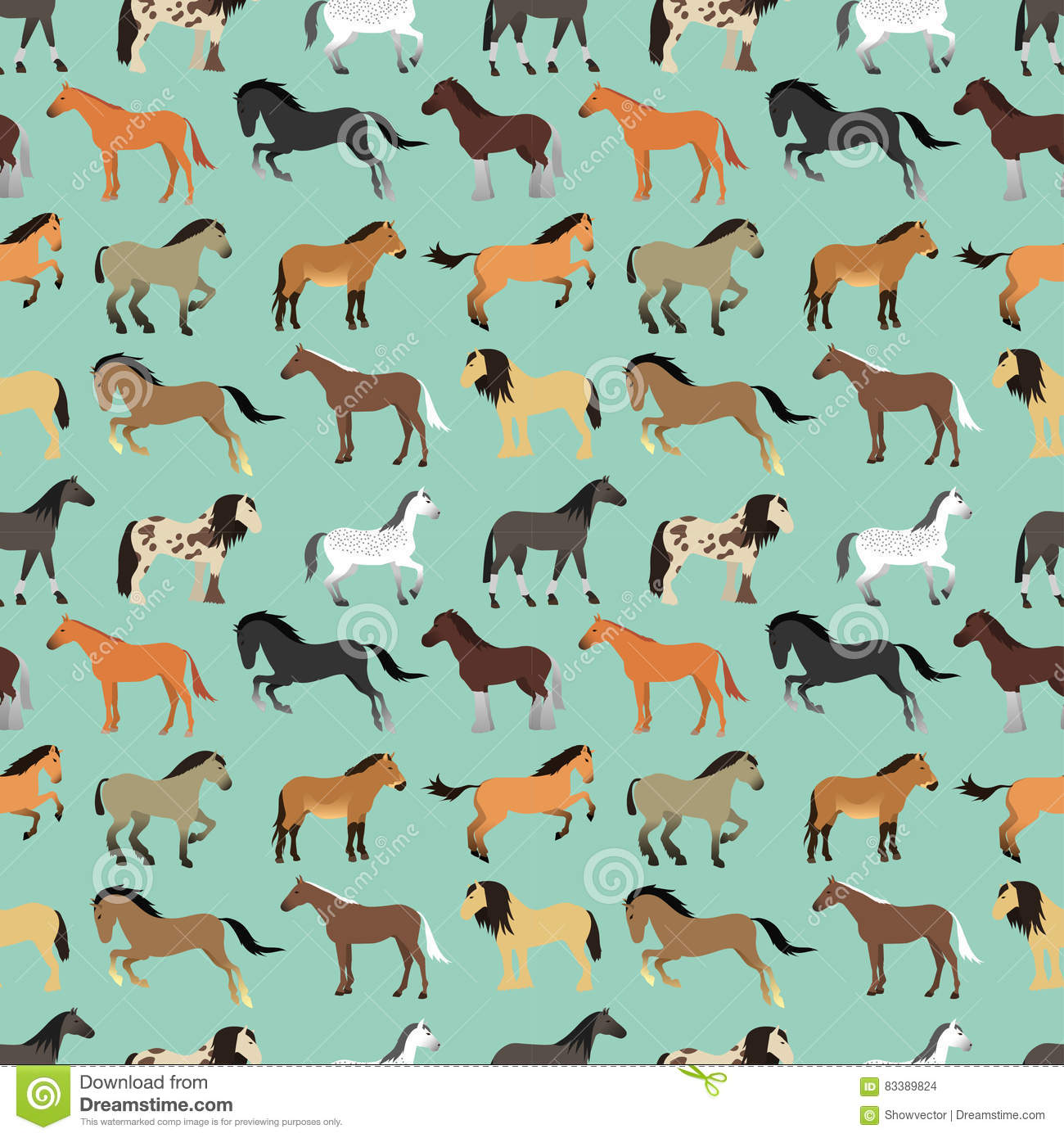 Seamless Pattern With Horse In Flat Style Stock Vector Illustration Of Pink Drawing 83389824