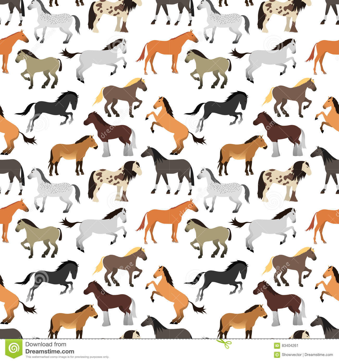 Seamless Pattern With Horse In Flat Style Stock Vector Illustration Of Hooves Color 83404261