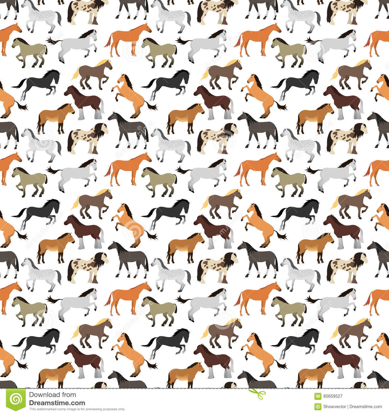 Seamless Pattern With Horse In Flat Style. Stock Vector