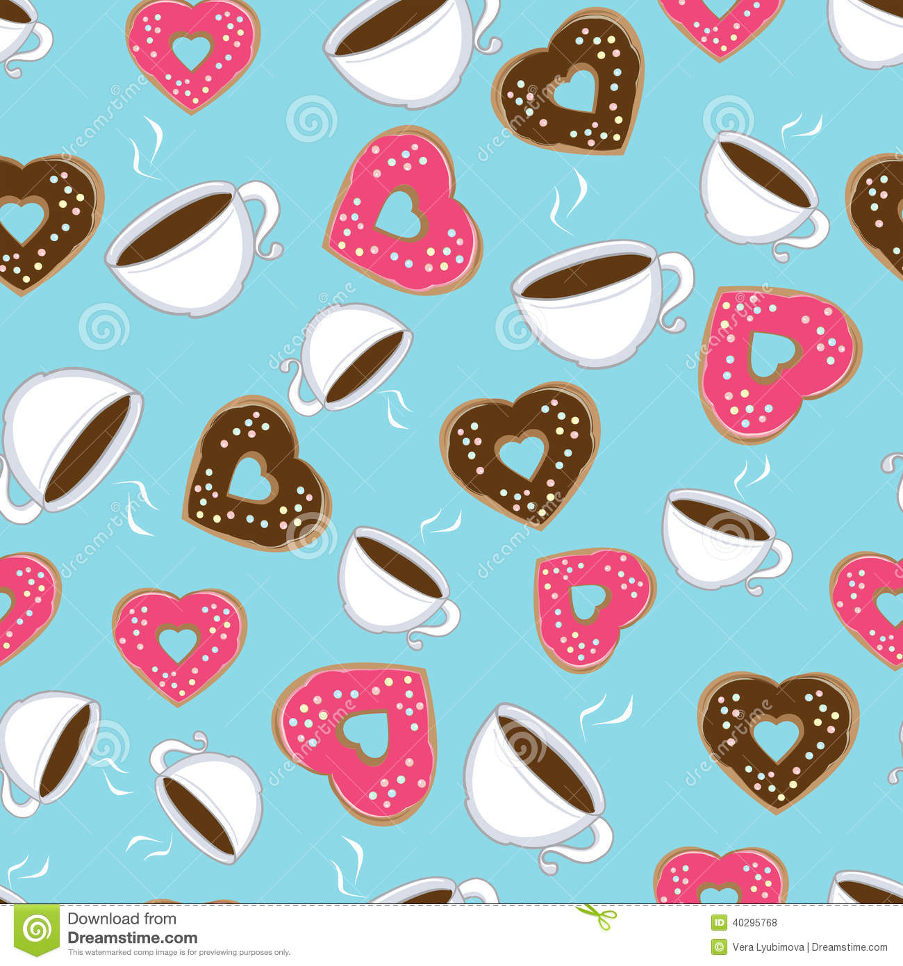 Seamless Pattern Of Hot Chocolate And Donuts Stock Vector