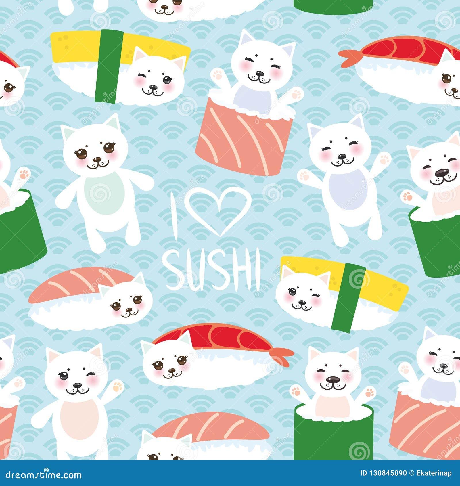 78d53aee3 Seamless Pattern. I Love Sushi. Kawaii Funny Sushi Set And White ...