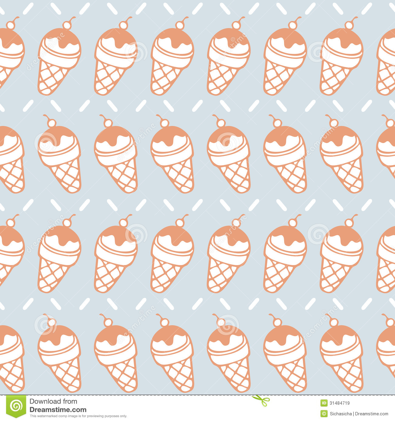 Ice Cream Cones Background Royalty Free Vector Image: Seamless Pattern Of Ice Cream Cone Background Royalty Free
