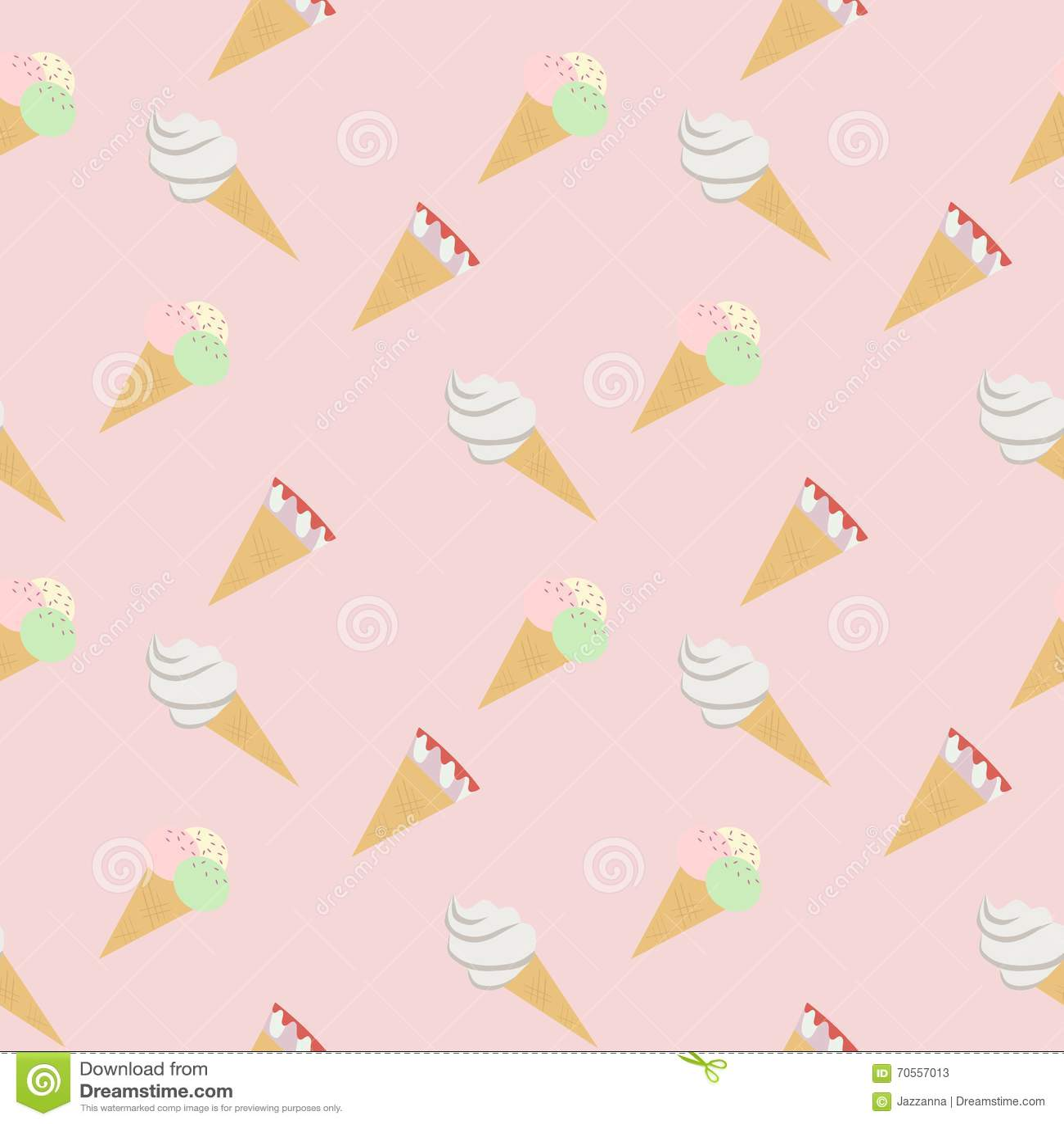 Ice Cream Cones Seamless Pattern Background Stock Vector: Seamless Pattern Ice Cream Cones Pink Stock Vector