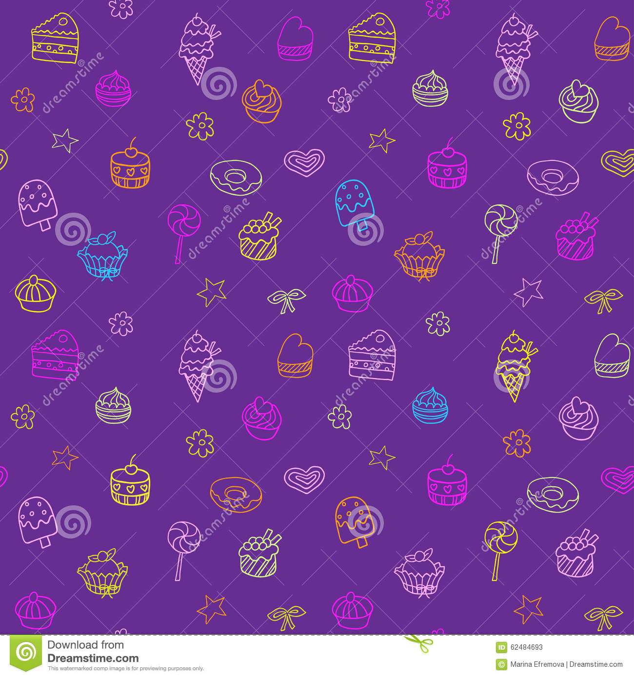 Seamless Ice Cream Background: Seamless Pattern With Ice-cream, Pie And Cupcakes Stock