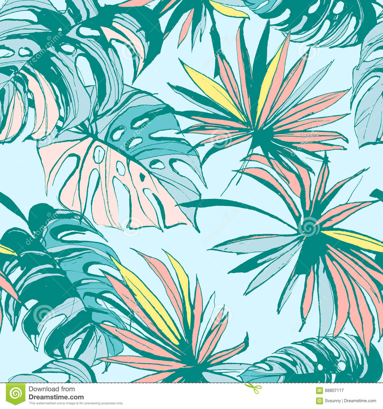 seamless pattern ink hand drawn tropical palm leaves