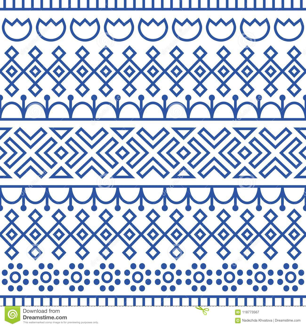 Seamless pattern inspired by scandinavian, finnish folk art. Nordic blue and white background. Repeated decoration