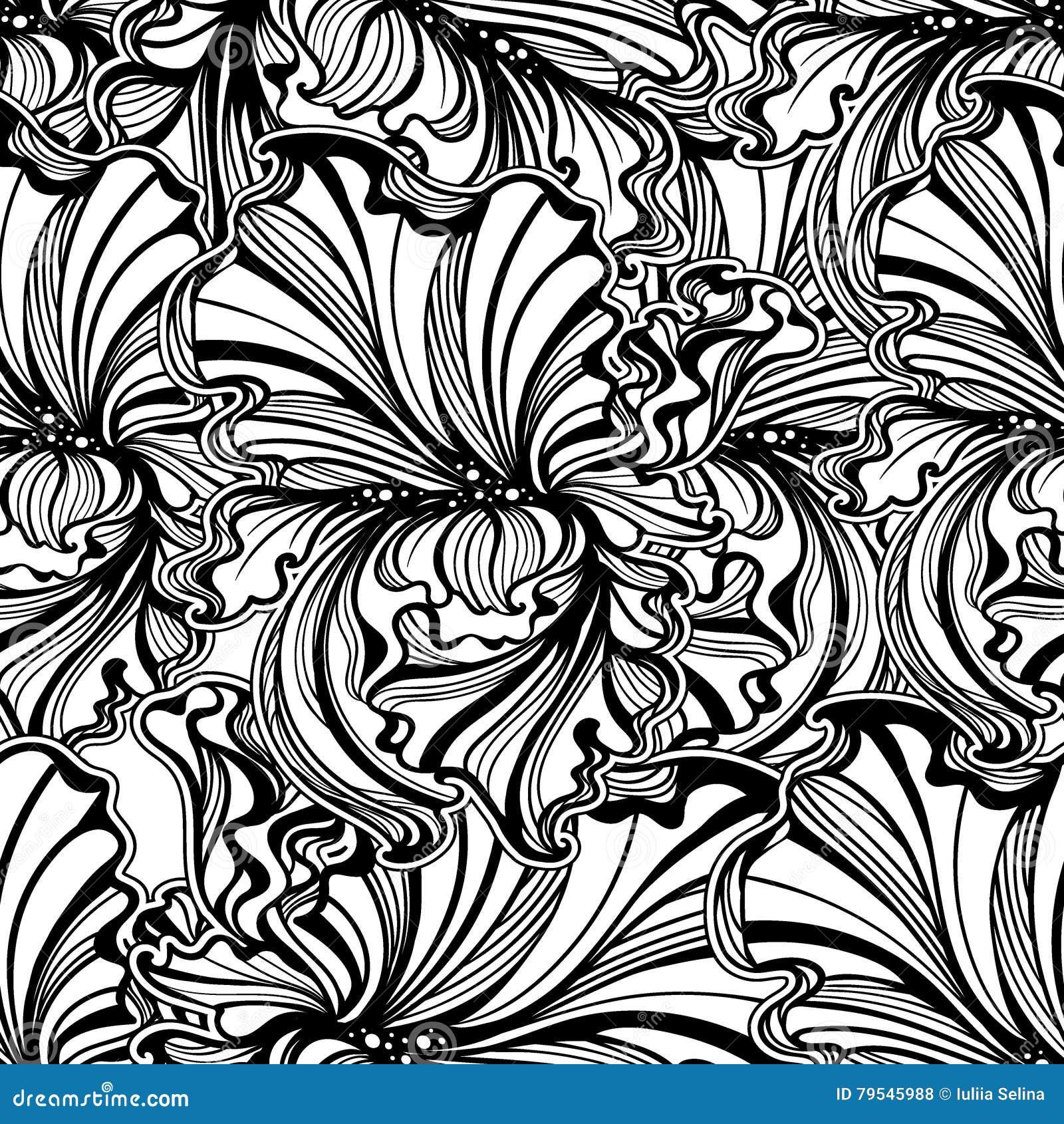 Seamless Pattern Irises Art Nouveau