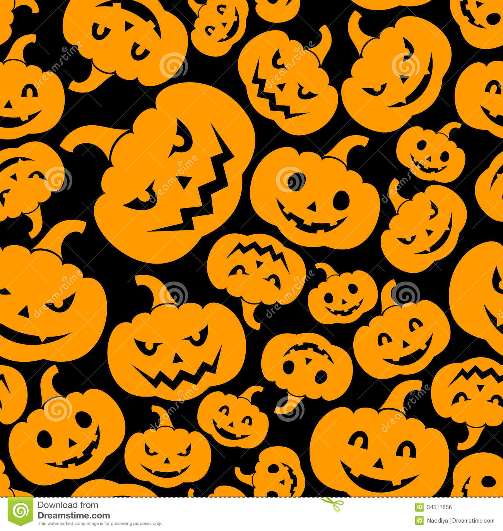 Seamless Pattern With Jack O Lantern Halloween Pu