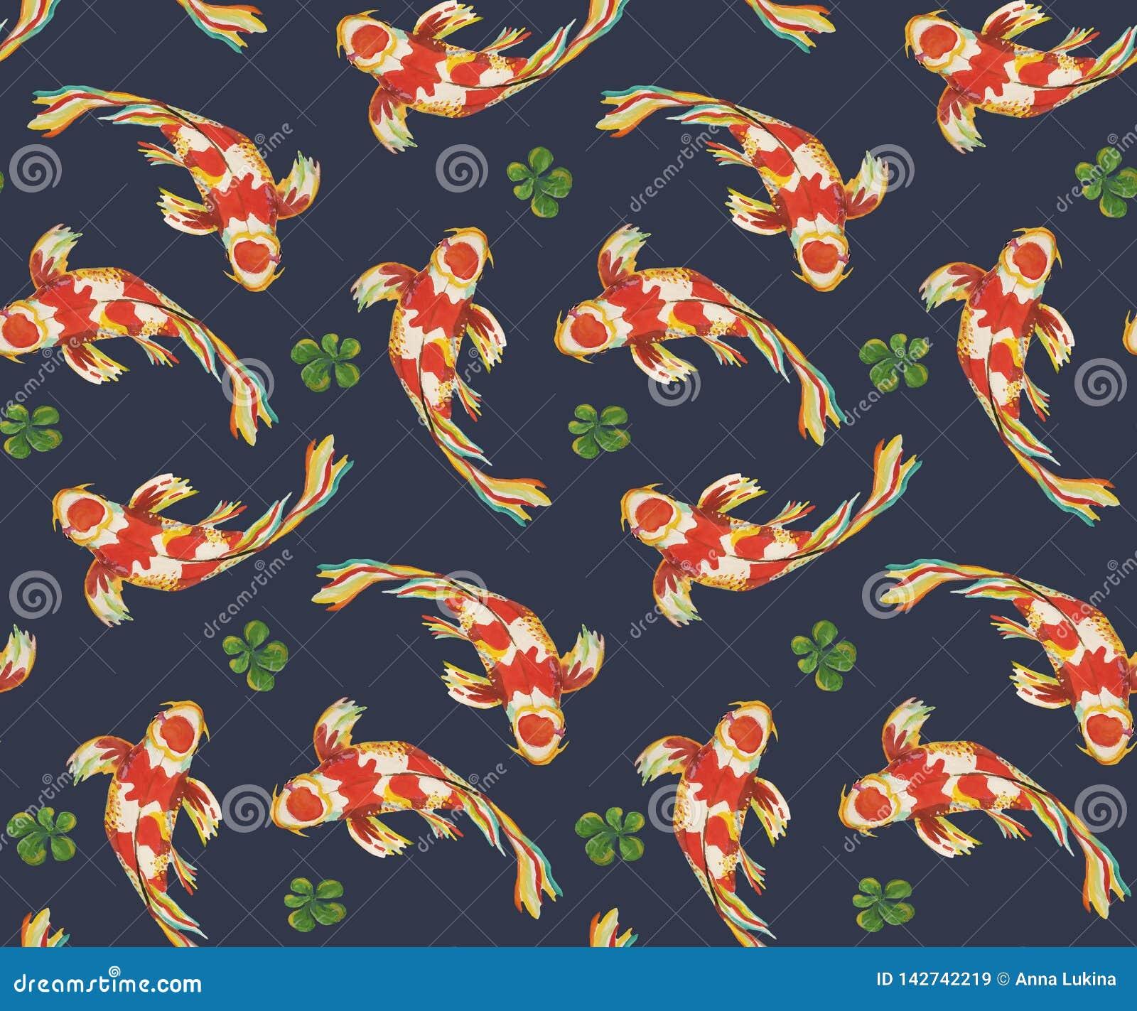 Seamless Pattern Japanese Fish Koi Carps Swimming In