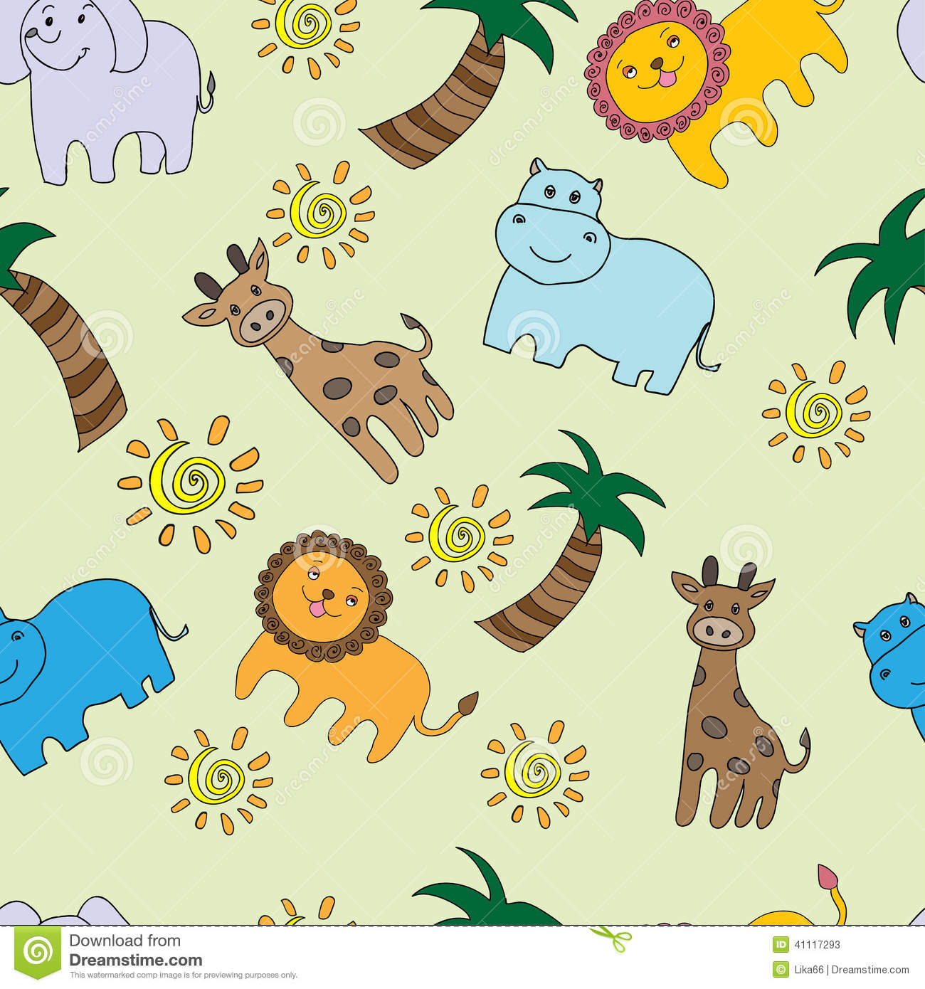 seamless pattern with jungle animals stock vector