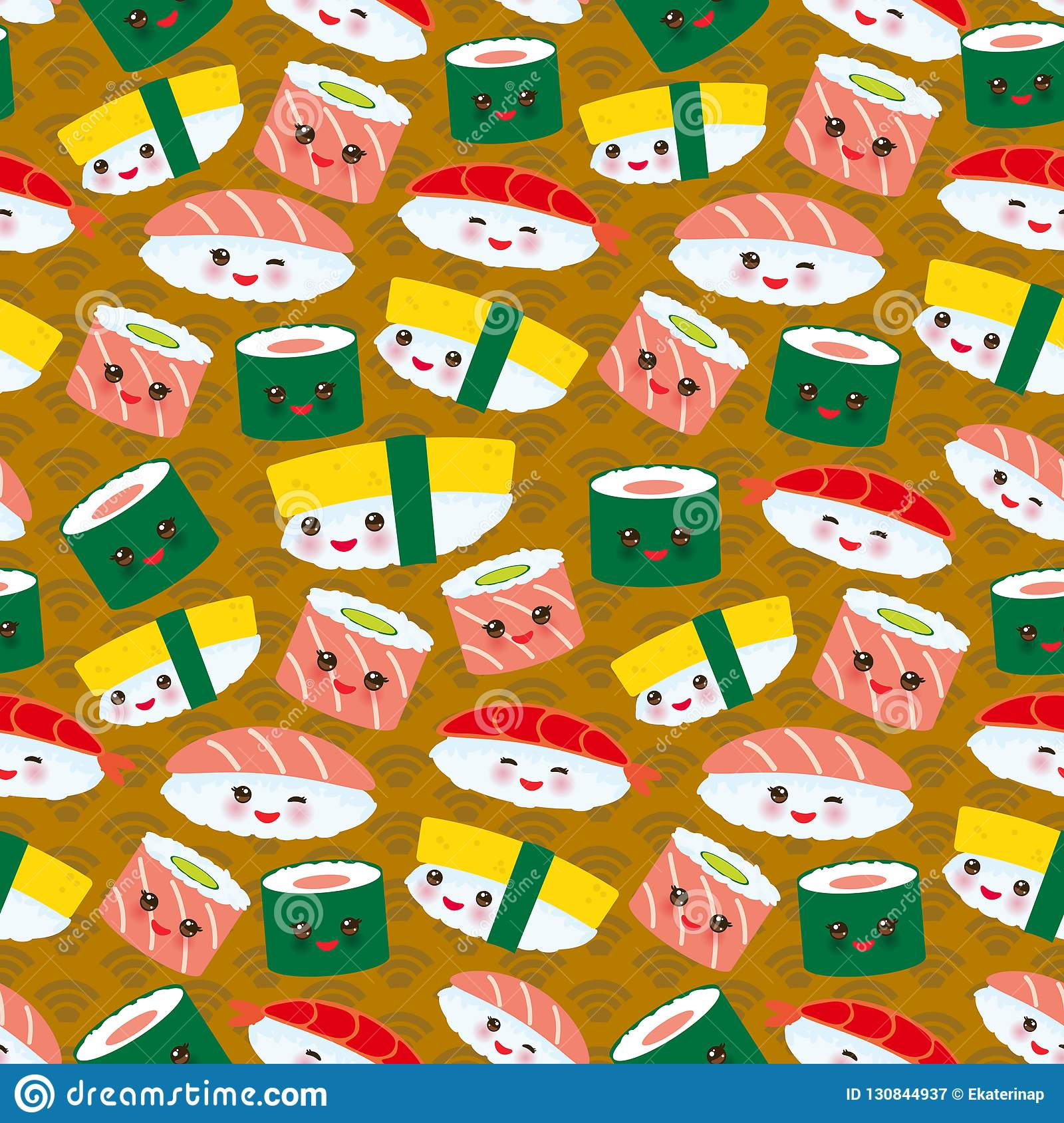 Seamless pattern Kawaii funny sushi set with pink cheeks and big eyes, emoji on brown mustard background. Vector
