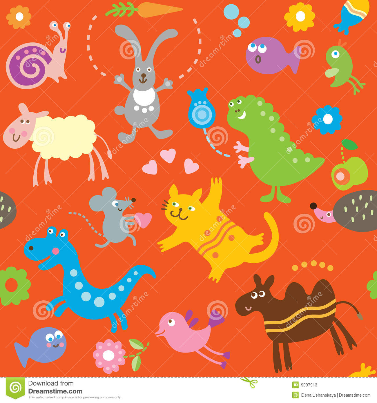 Seamless pattern for kids - animals