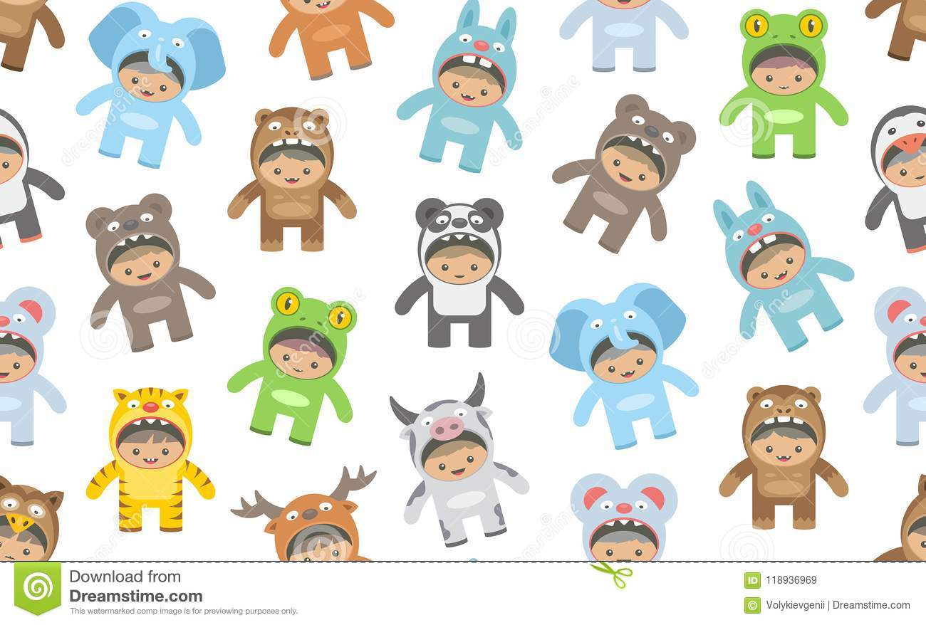 Seamless pattern with kids in animals costumes flat style isolated on white background