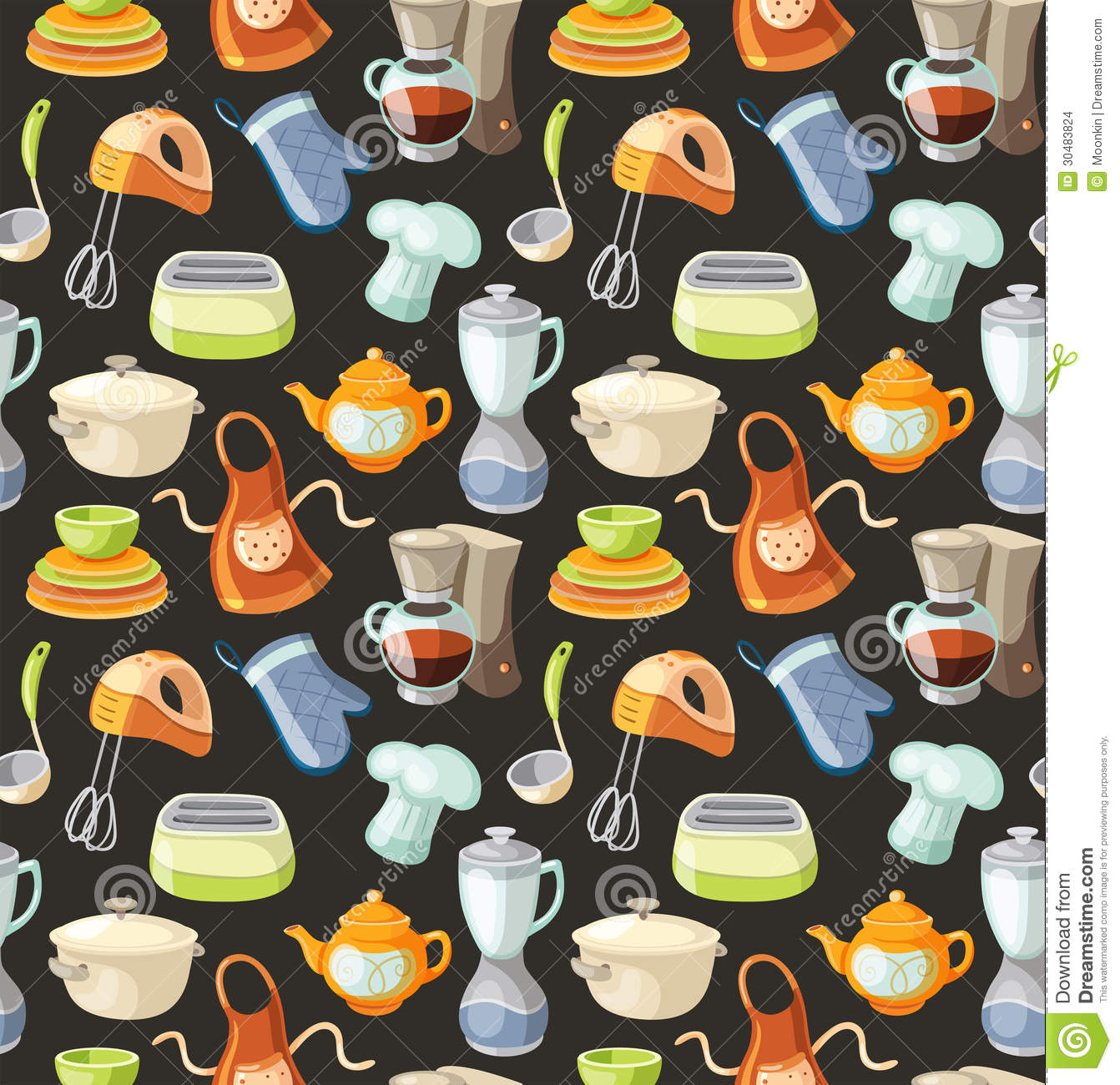 Seamless Pattern With Kitchen Tools And Cooking Icons