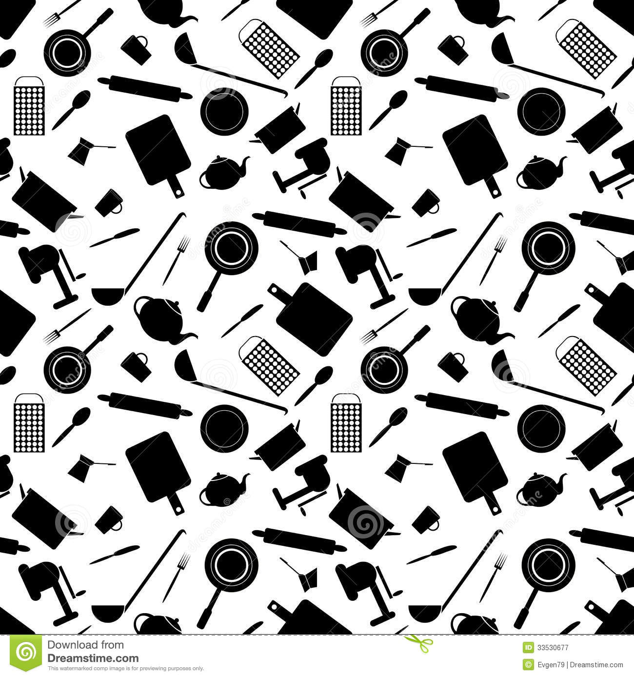 Seamless Pattern Of Kitchen Tools Royalty Free Stock Photography Image 33530677