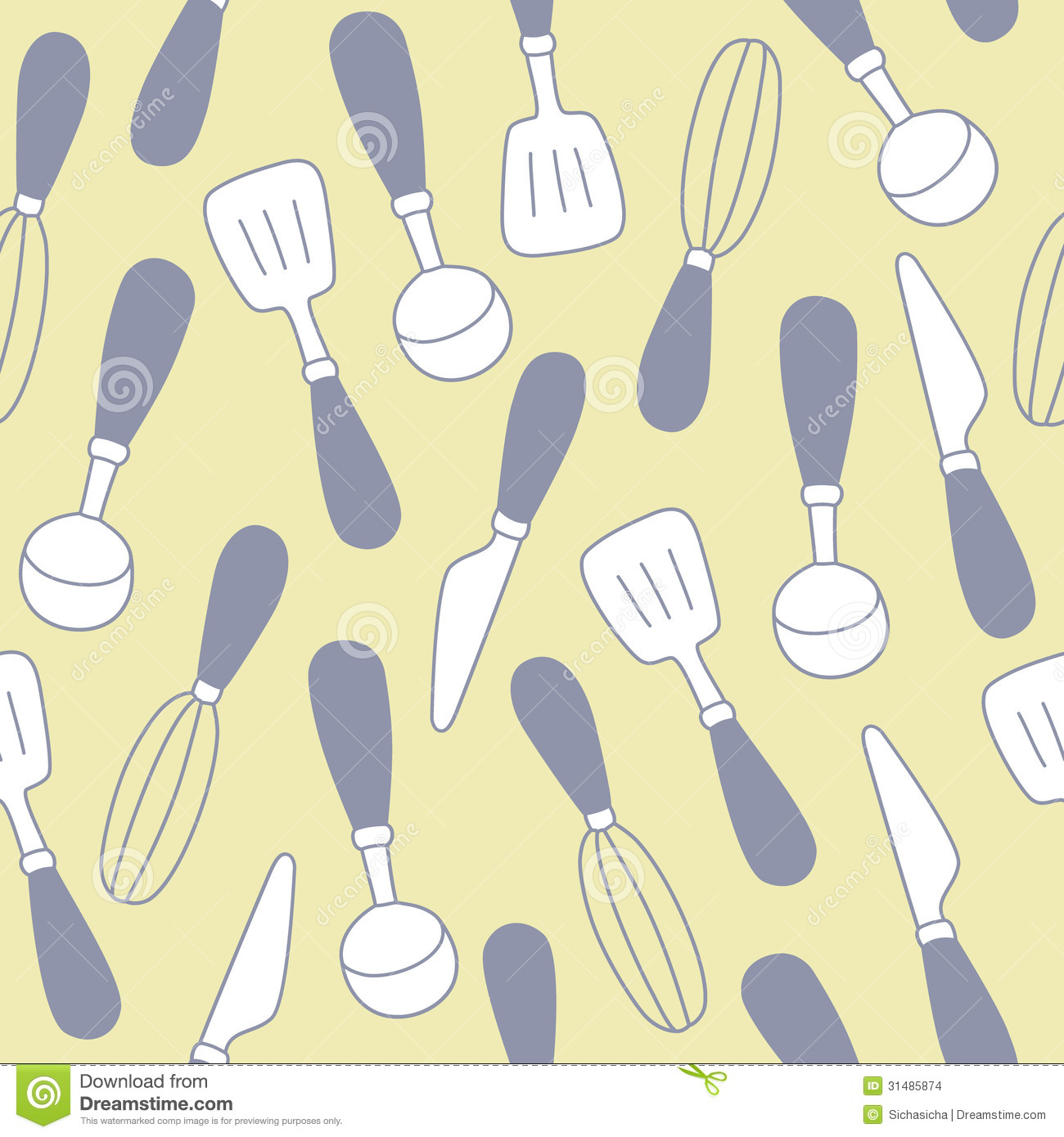 Seamless Pattern Of Kitchen Utensils Background Stock Images Image