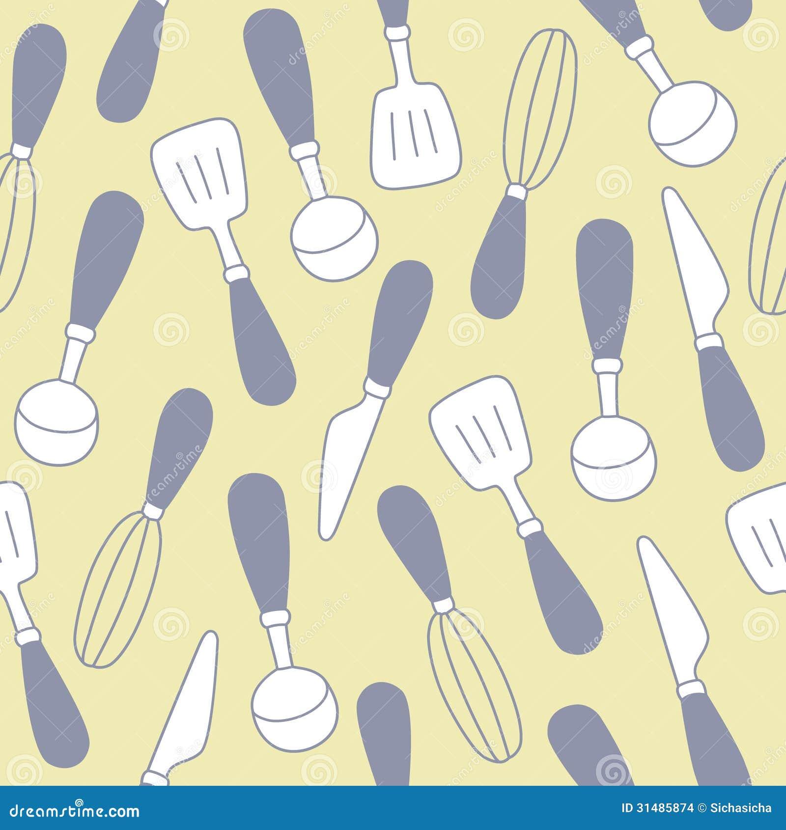 Kitchen Utensils Background: Seamless Pattern Of Kitchen Utensils Background Stock