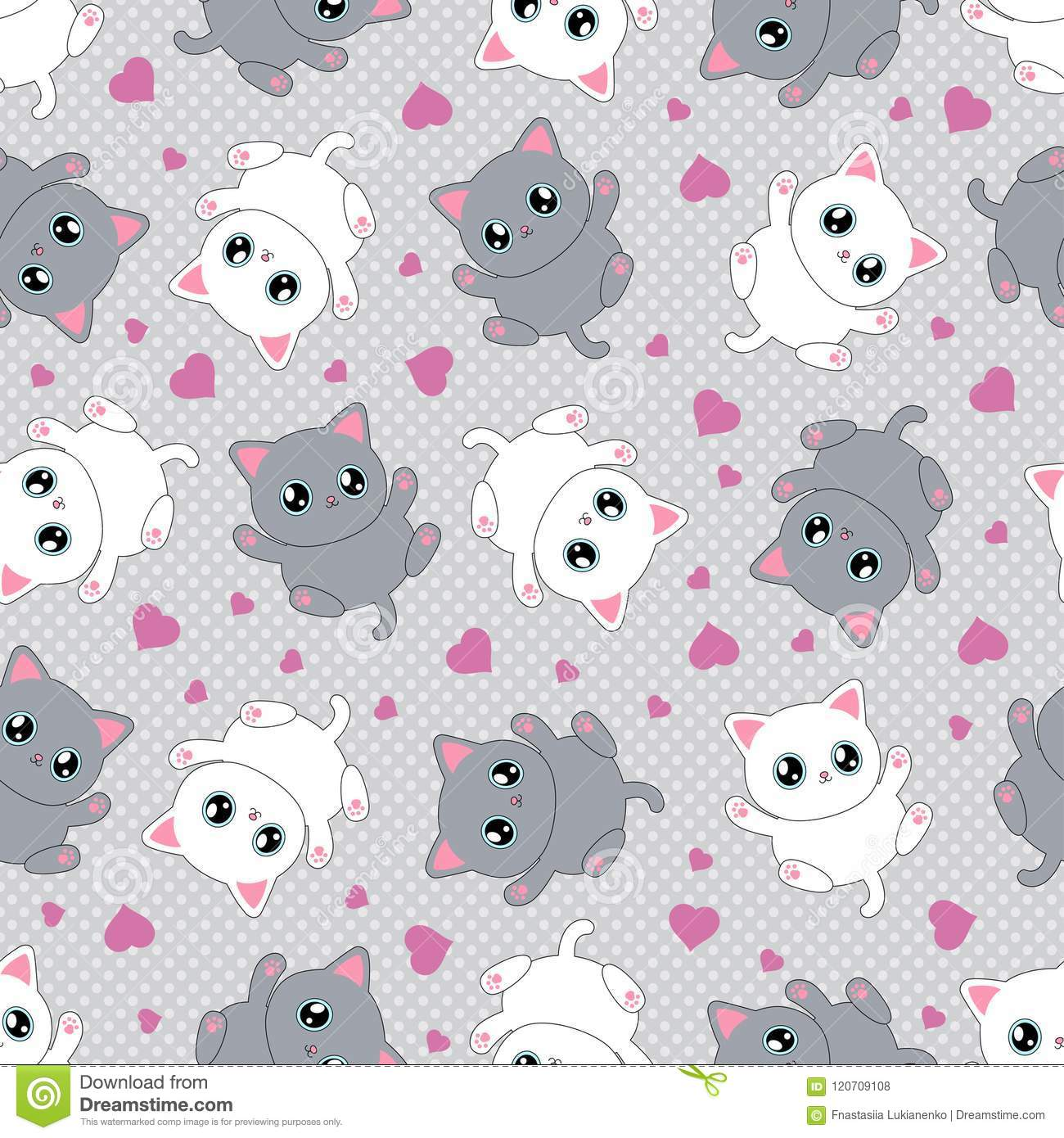 Seamless pattern with kittens on a gray background